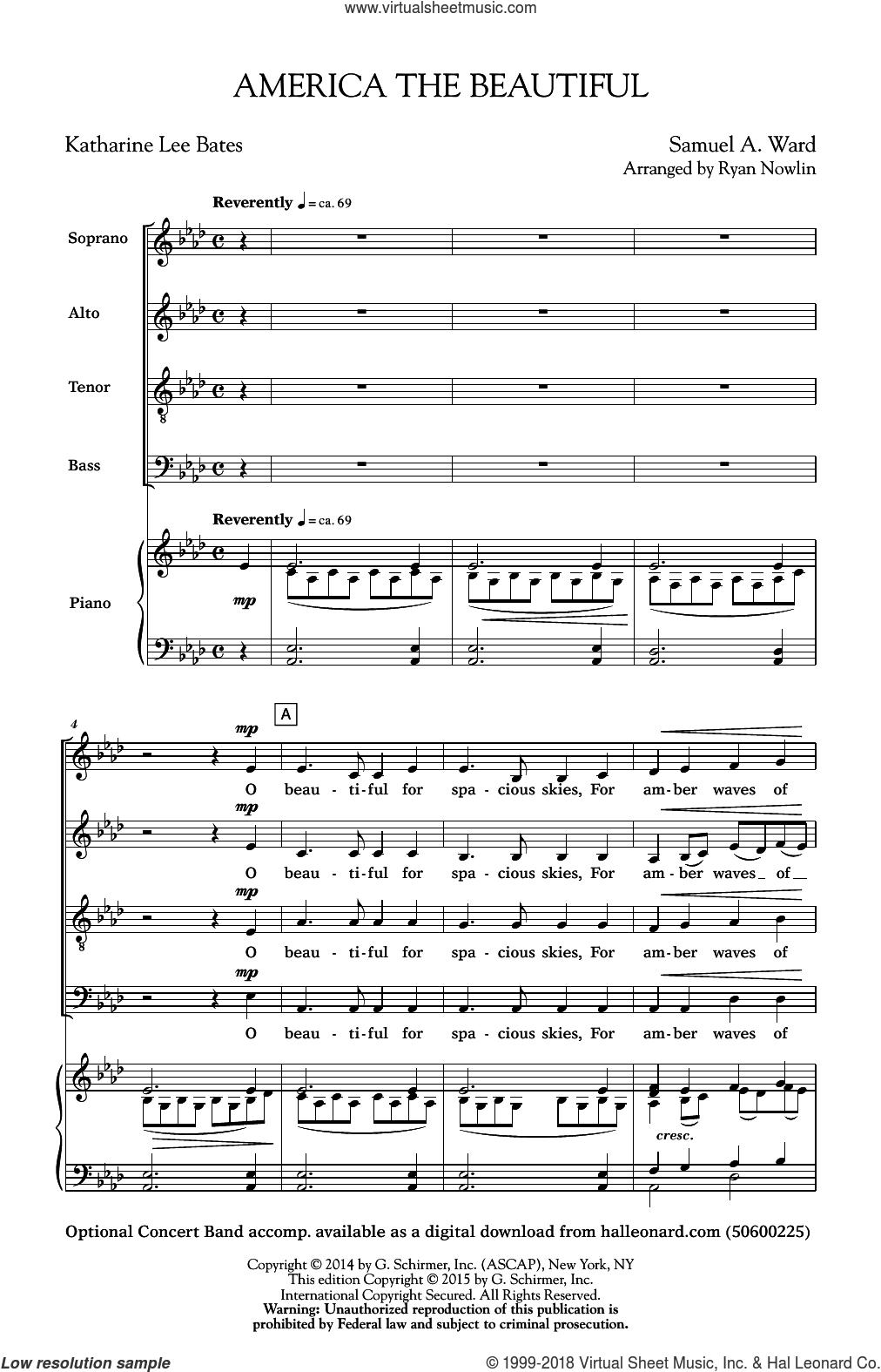 America, The Beautiful sheet music for choir (SATB: soprano, alto, tenor, bass) by Katherine Lee Bates, Ryan Nowlin and Samuel Augustus Ward, intermediate skill level