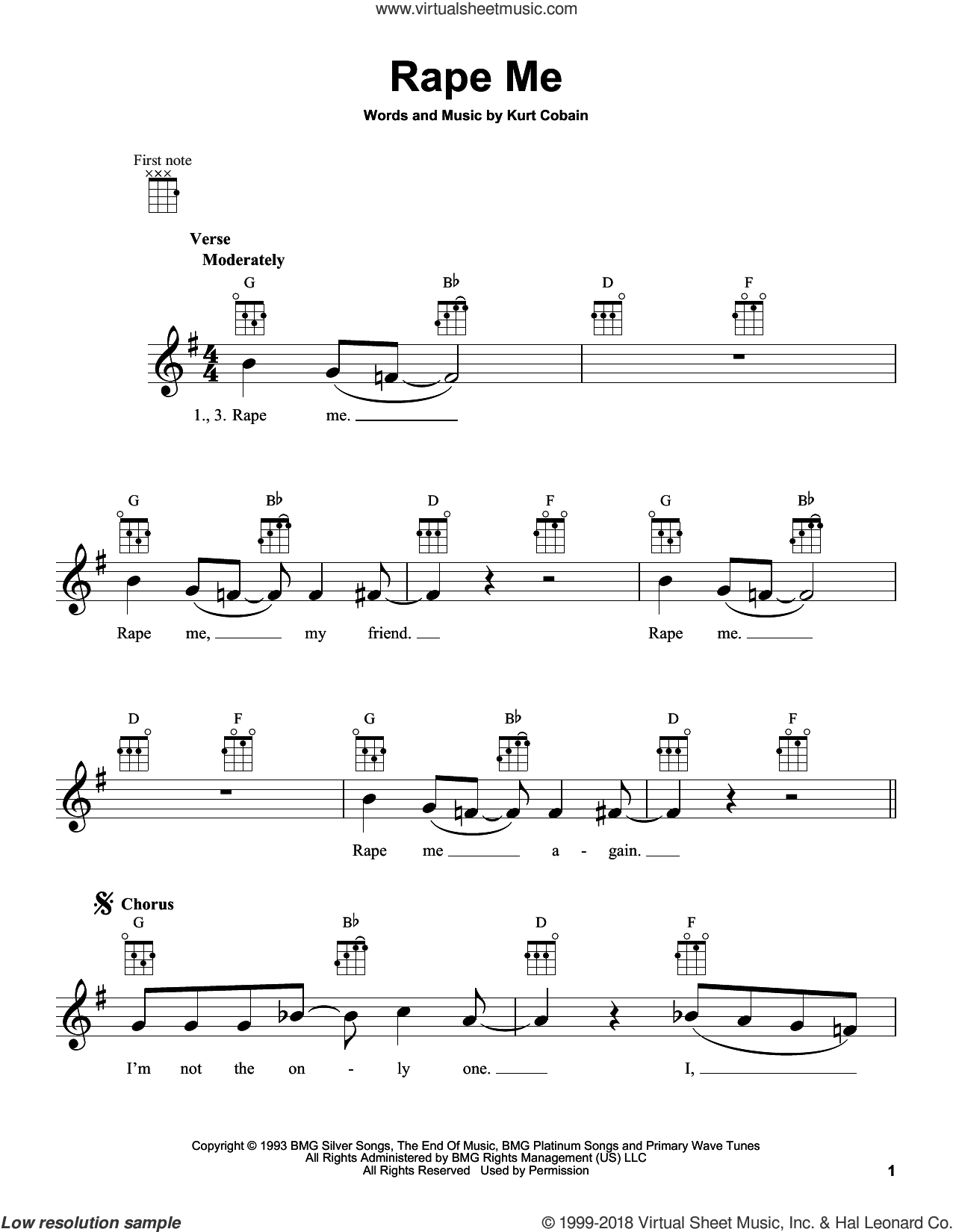 Rape Me sheet music for ukulele by Nirvana and Kurt Cobain, intermediate skill level