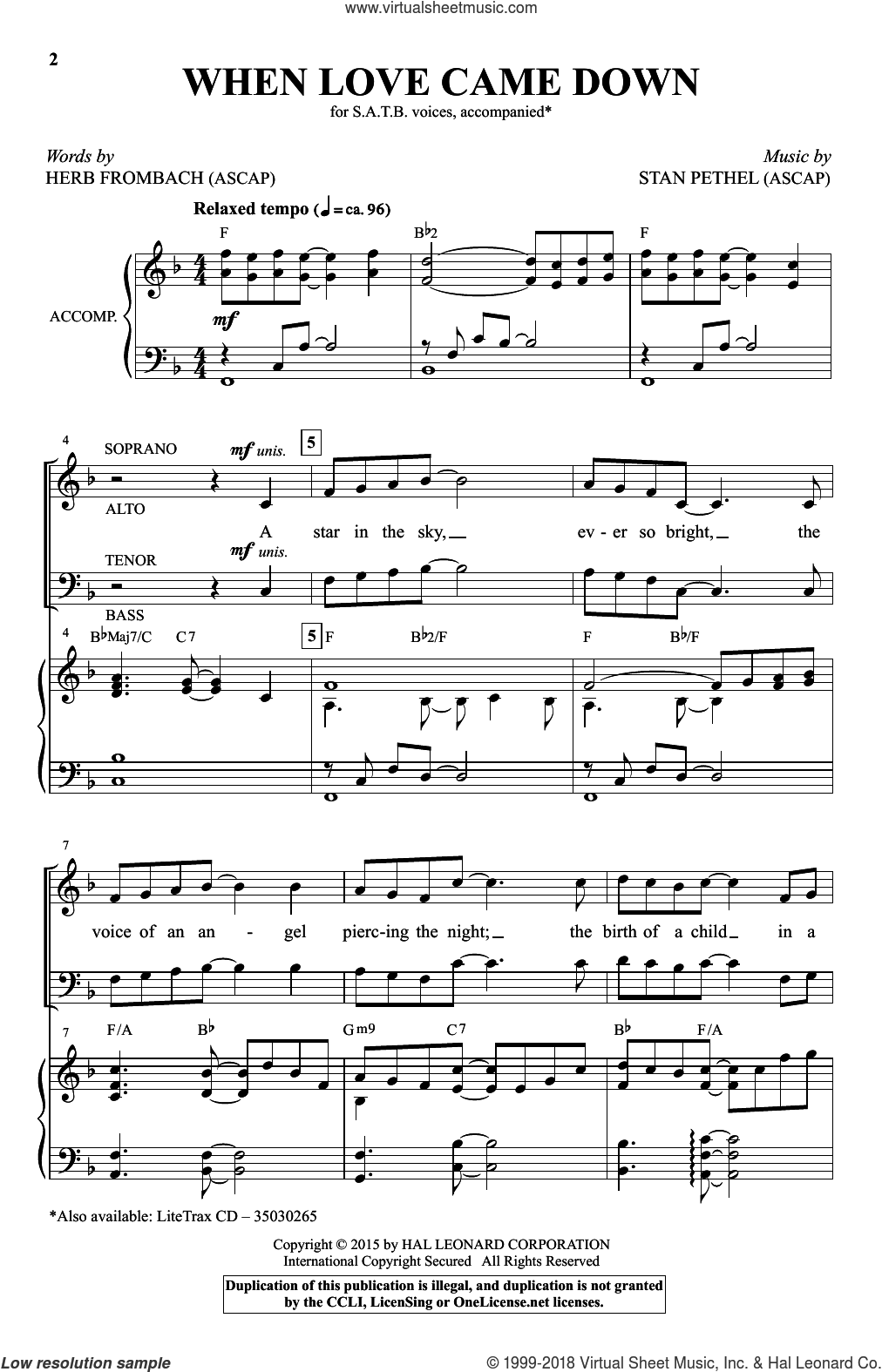 When Love Came Down sheet music for choir (SATB) by Stan Pethel and Herb Frombach. Score Image Preview.