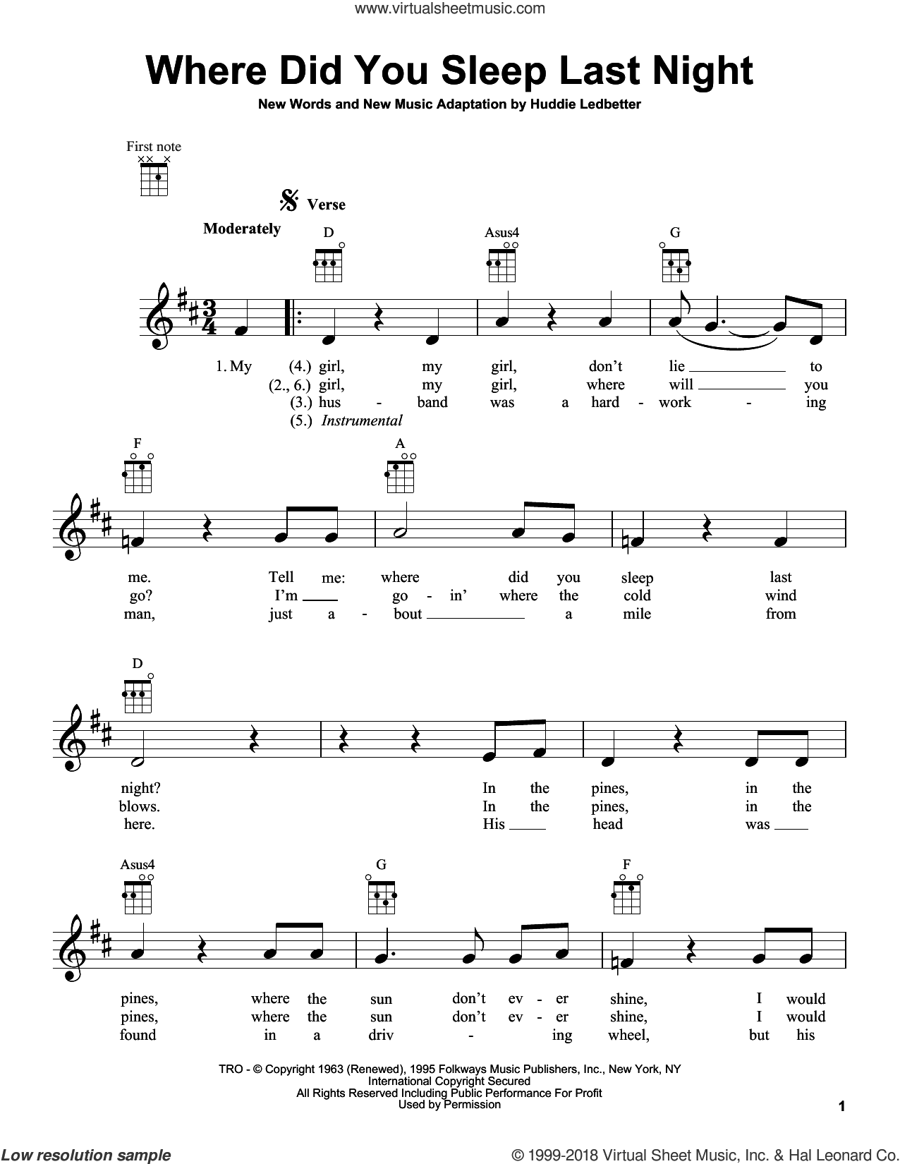 Where Did You Sleep Last Night sheet music for ukulele by Huddie Ledbetter and Nirvana. Score Image Preview.