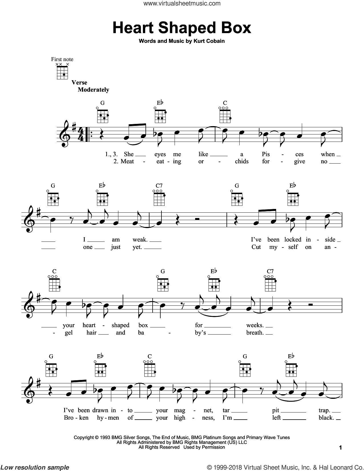Heart Shaped Box sheet music for ukulele by Nirvana and Kurt Cobain, intermediate. Score Image Preview.
