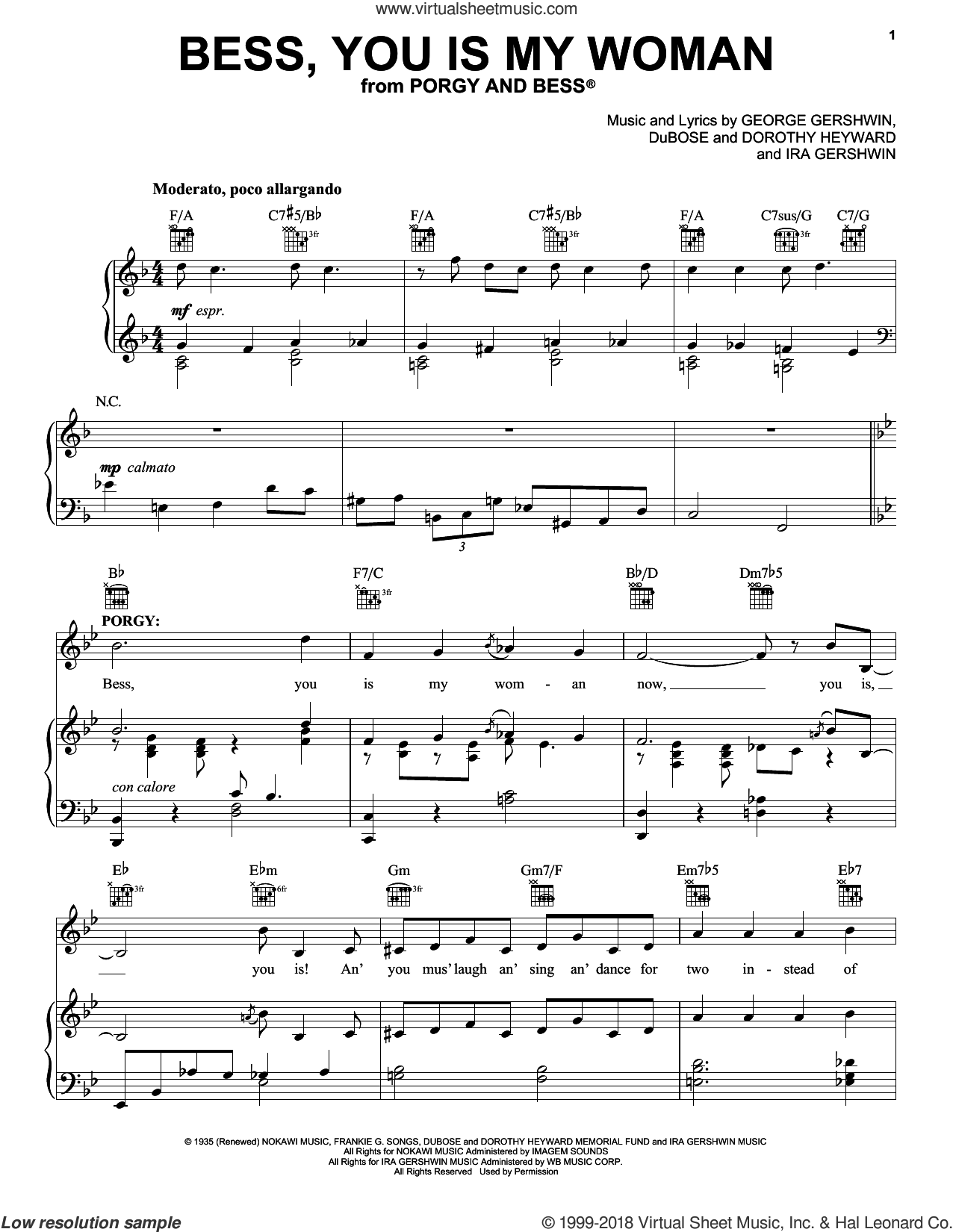 Bess, You Is My Woman sheet music for voice, piano or guitar by George and Ira Gershwin, Dorothy Heyward, DuBose Heyward, George Gershwin and Ira Gershwin, intermediate