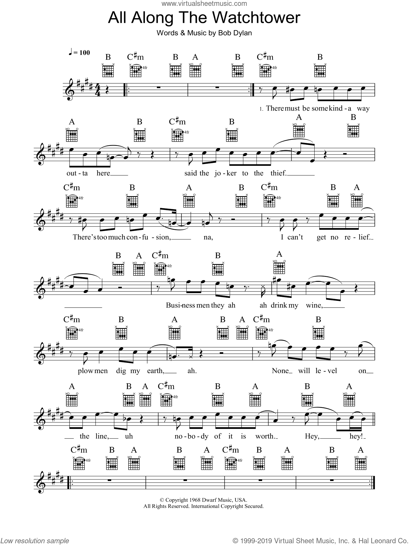 All Along The Watchtower sheet music for voice and other instruments (fake book) by Jimi Hendrix, U2 and Bob Dylan. Score Image Preview.