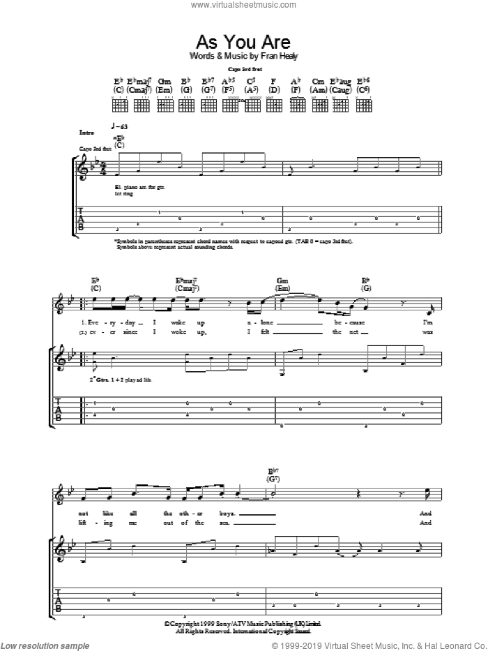As You Are sheet music for guitar (tablature) by Fran Healy