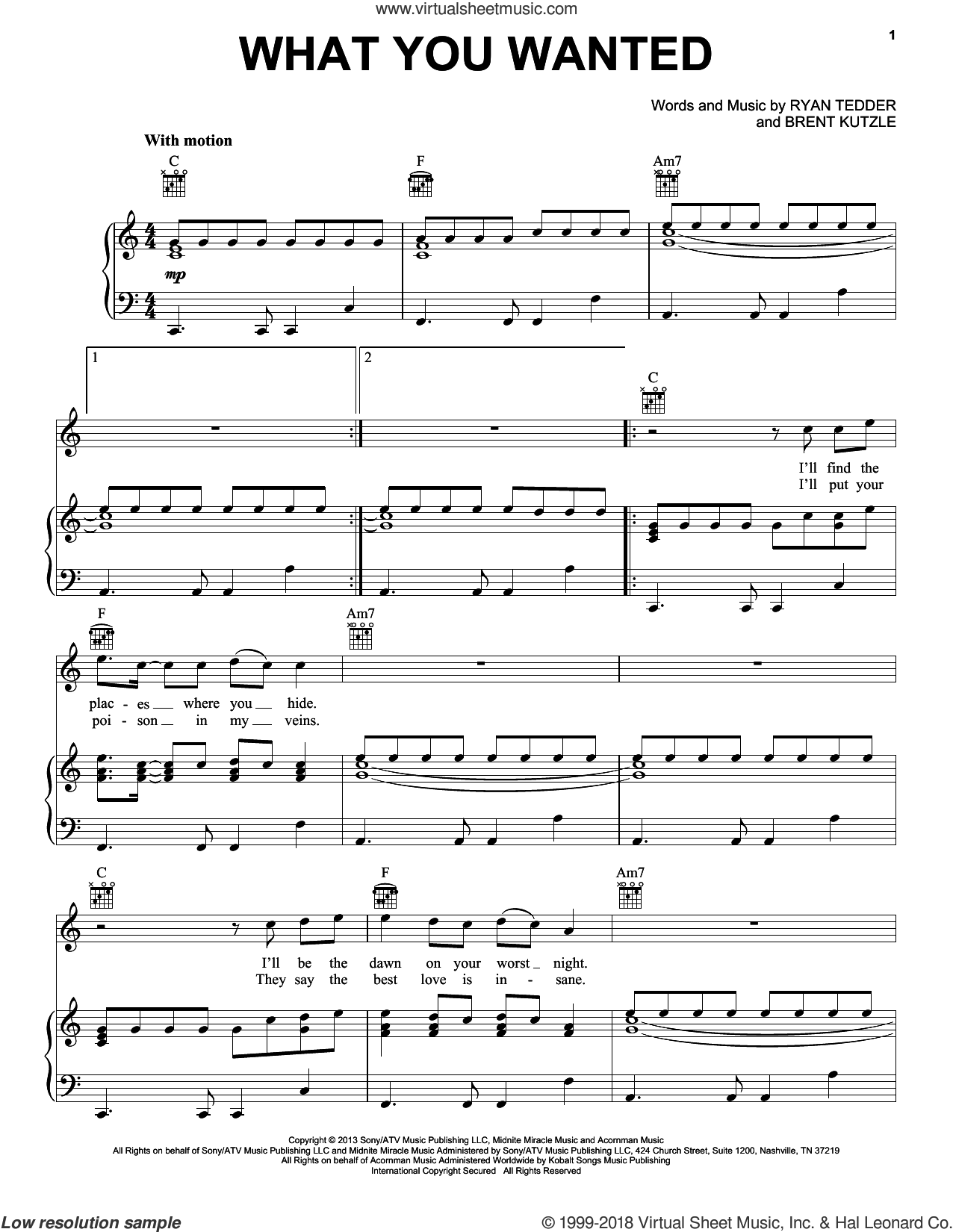 What You Wanted sheet music for voice, piano or guitar by OneRepublic, Brent Kutzle and Ryan Tedder, intermediate skill level