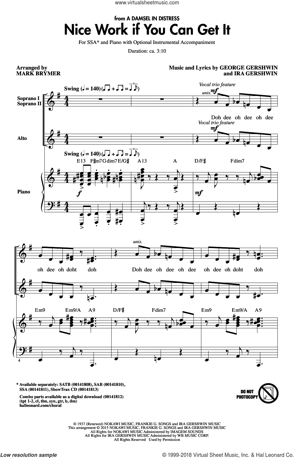 Nice Work If You Can Get It sheet music for choir (soprano voice, alto voice, choir) by George Gershwin, Mark Brymer, Frank Sinatra and Ira Gershwin, intermediate choir (soprano voice, alto voice, choir). Score Image Preview.