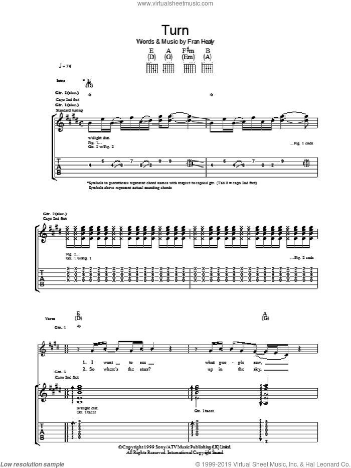 Turn sheet music for guitar (tablature) by Merle Travis, intermediate guitar (tablature). Score Image Preview.