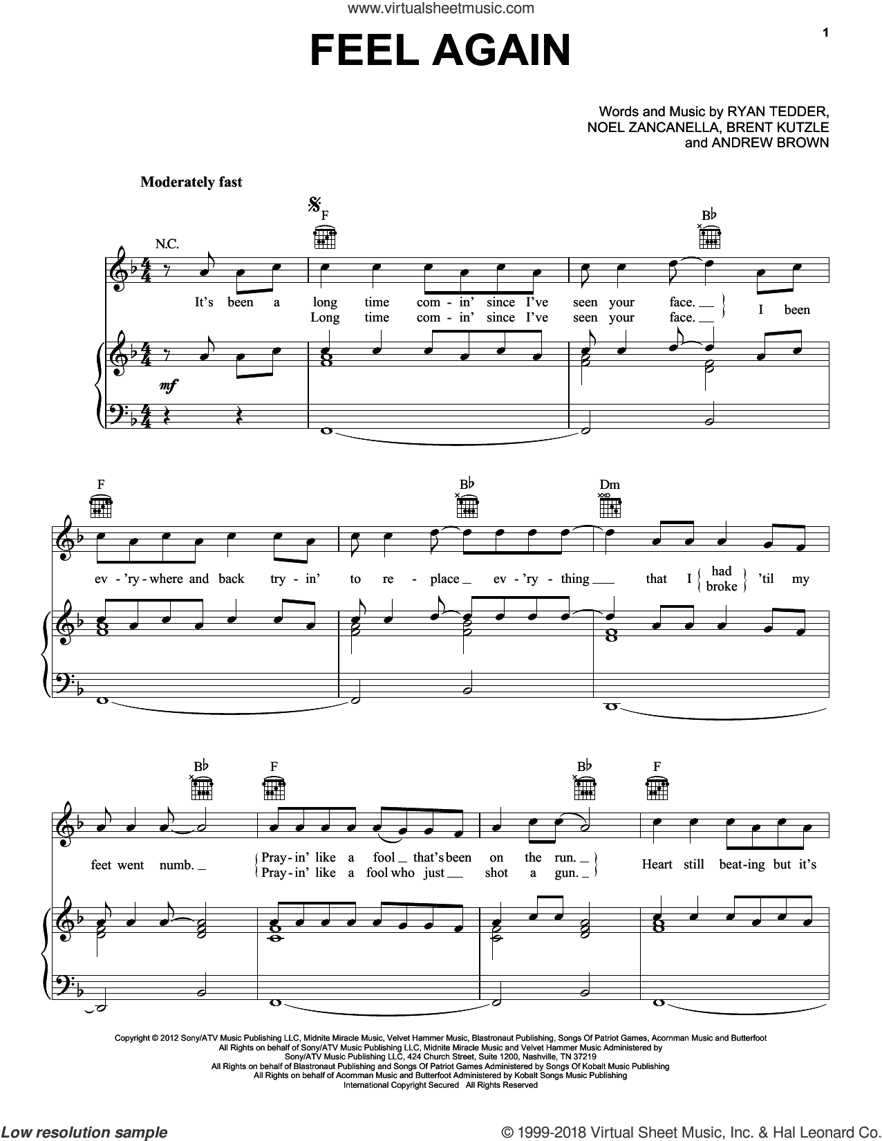 Feel Again sheet music for voice, piano or guitar by OneRepublic, Andrew Brown, Brent Kutzle, Noel Zancanella and Ryan Tedder, intermediate skill level