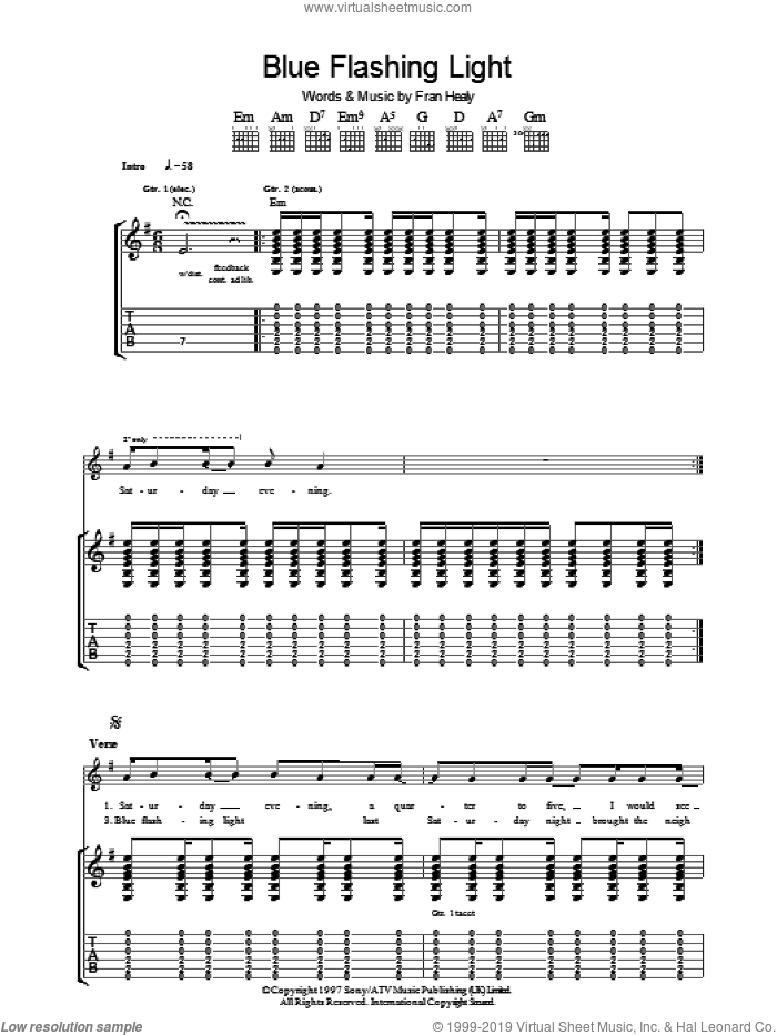 Blue Flashing Light sheet music for guitar (tablature) by Fran Healy and Merle Travis. Score Image Preview.