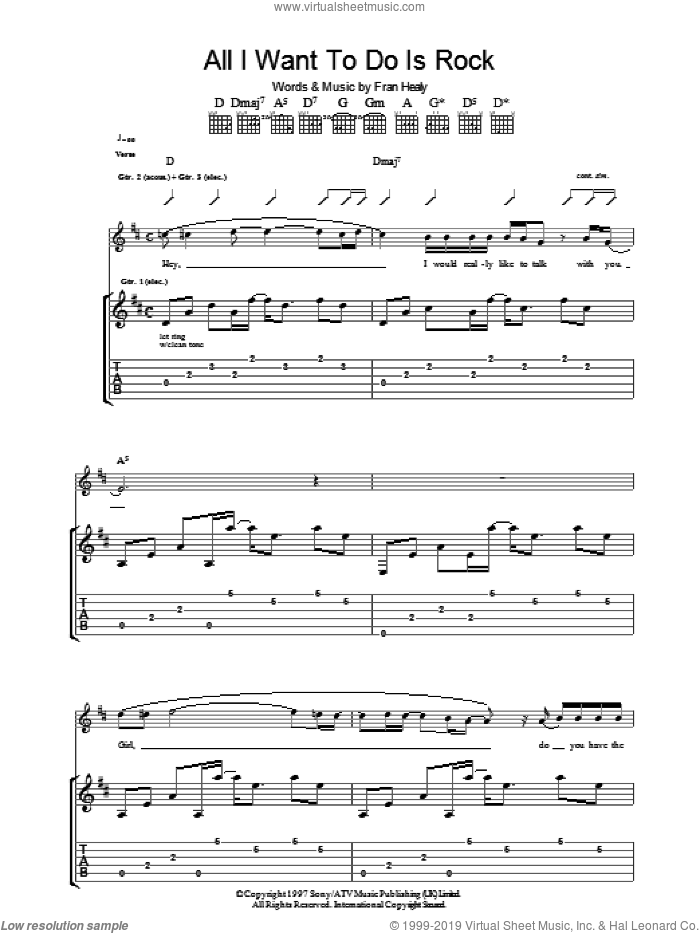 All I Want To Do Is Rock sheet music for guitar (tablature) by Fran Healy