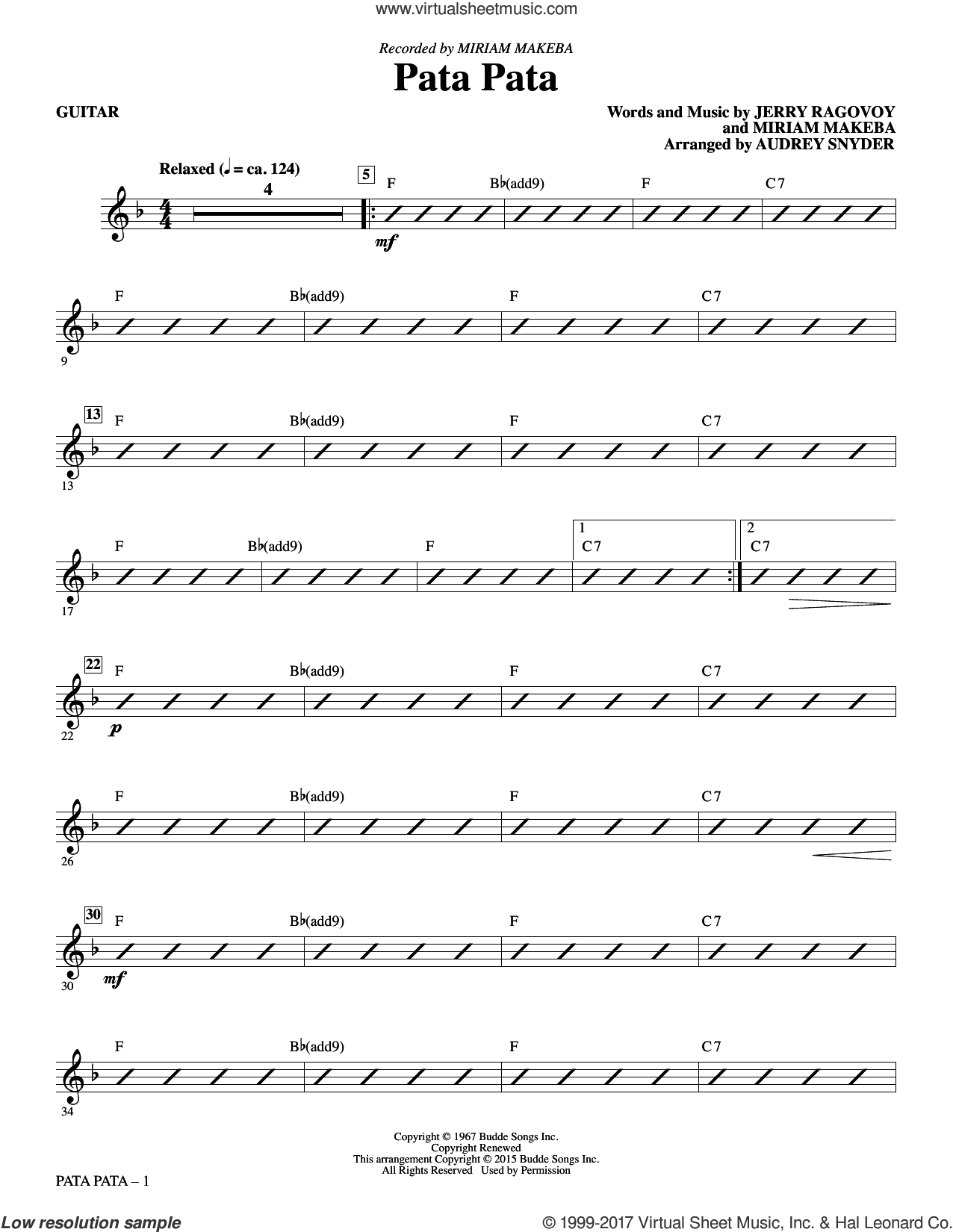 Pata Pata (complete set of parts) sheet music for orchestra/band by Audrey Snyder, Jerry Ragovoy, Miriam Makeba and Wes Montgomery, intermediate skill level