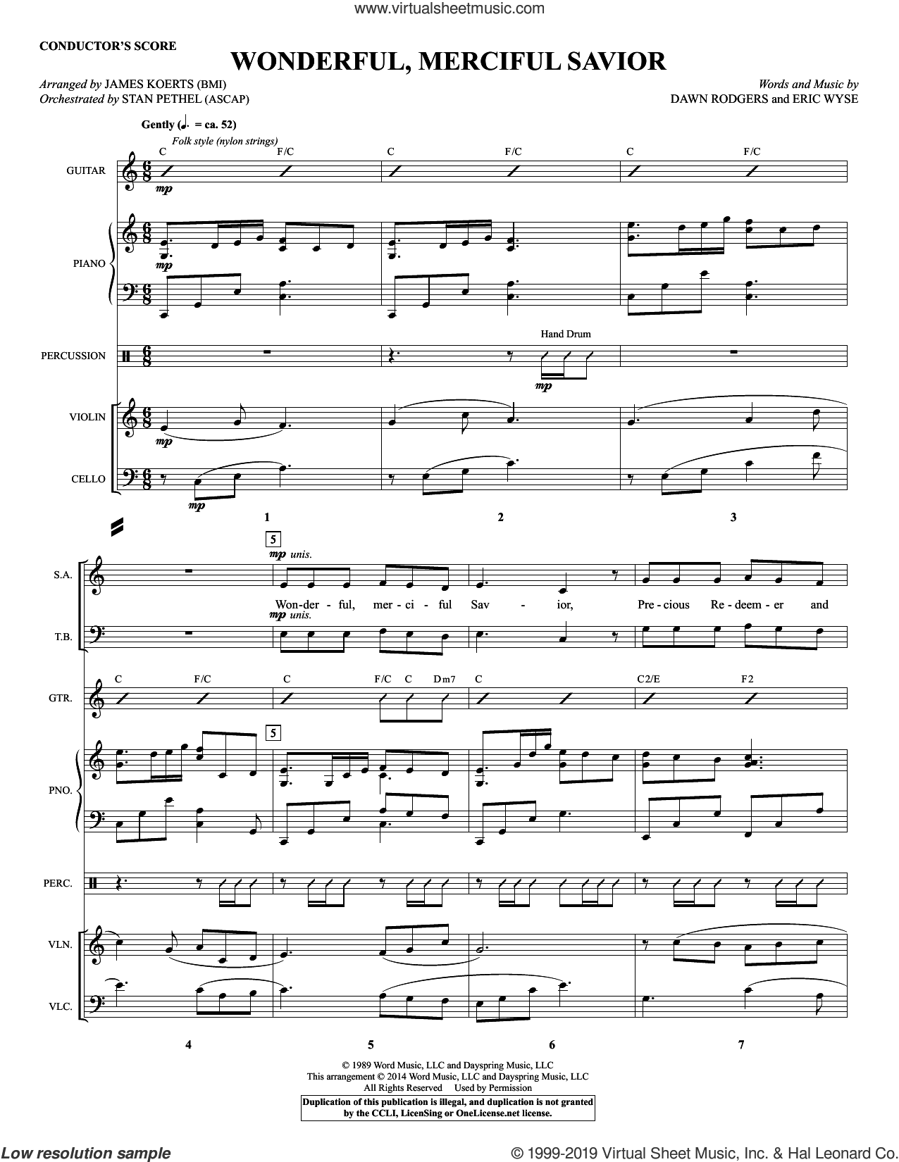 Wonderful, Merciful Savior (COMPLETE) sheet music for orchestra/band by James Koerts, Dawn Rodgers and Eric Wyse, intermediate skill level