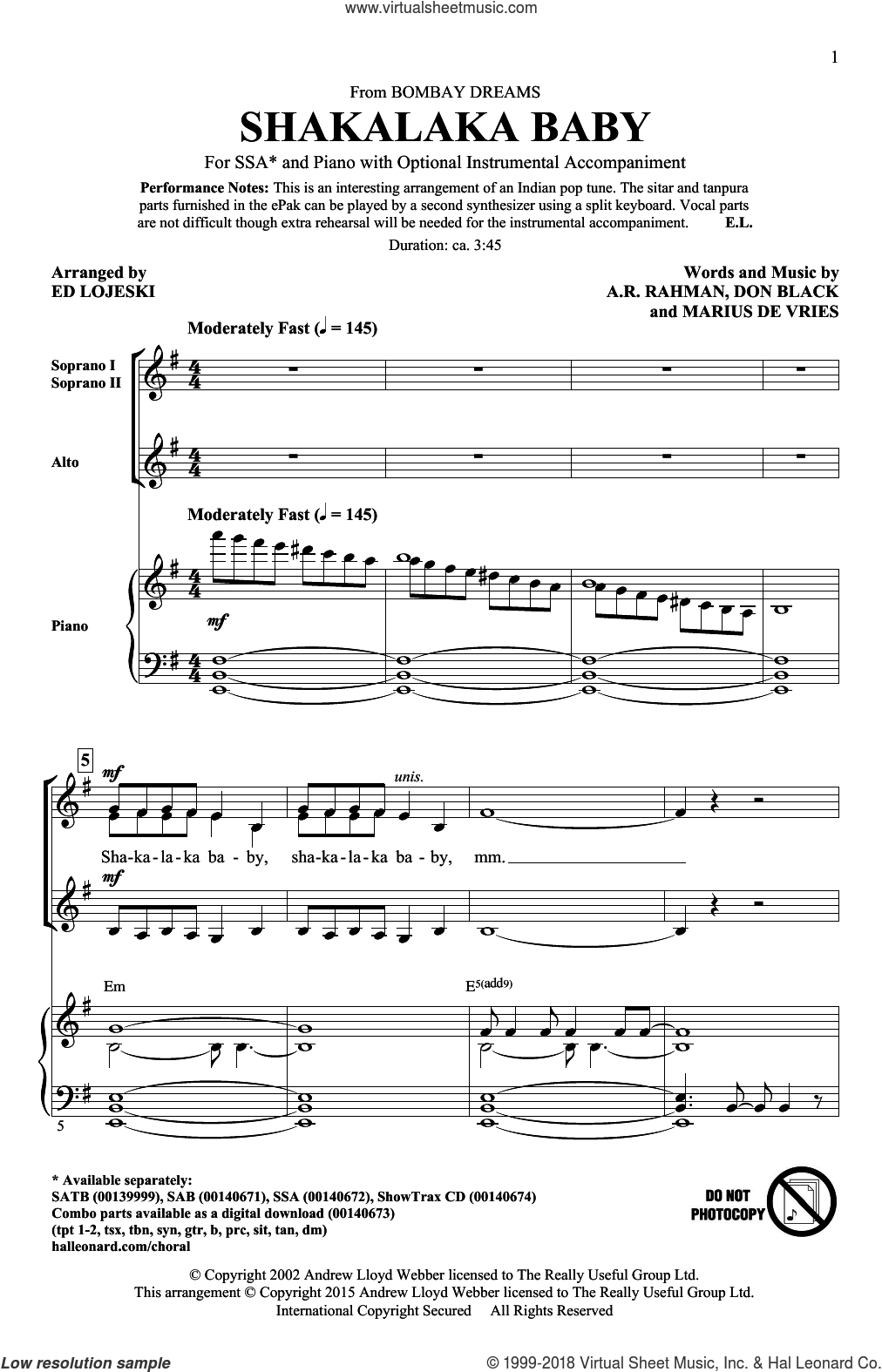 Shakalaka Baby (from Bombay Dreams) sheet music for choir (SSA: soprano, alto) by Don Black, Ed Lojeski, A.R. Rahman and Marius De Vries, intermediate skill level