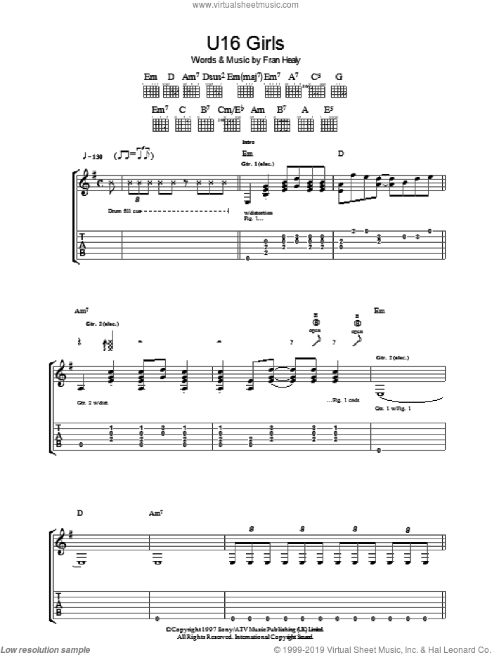 U16 Girls sheet music for guitar (tablature) by Merle Travis, intermediate guitar (tablature). Score Image Preview.