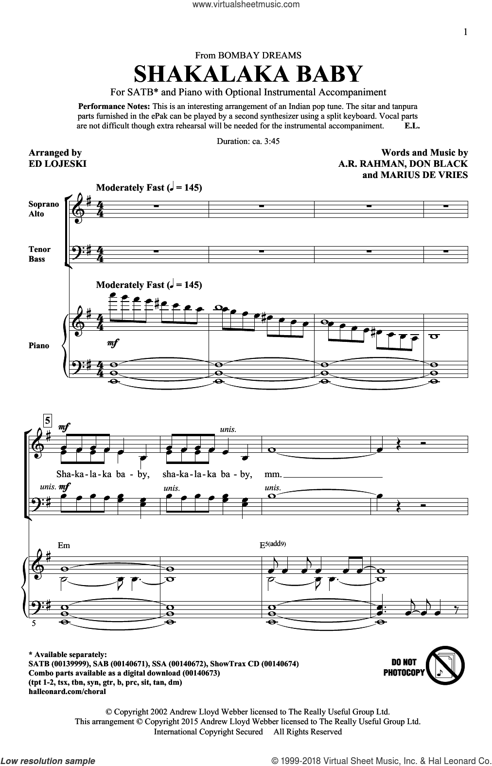 Shakalaka Baby (from Bombay Dreams) sheet music for choir (SATB: soprano, alto, tenor, bass) by Don Black, Ed Lojeski, A.R. Rahman and Marius De Vries, intermediate skill level