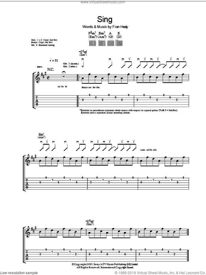 Sing sheet music for guitar (tablature) by Merle Travis and Fran Healy, intermediate