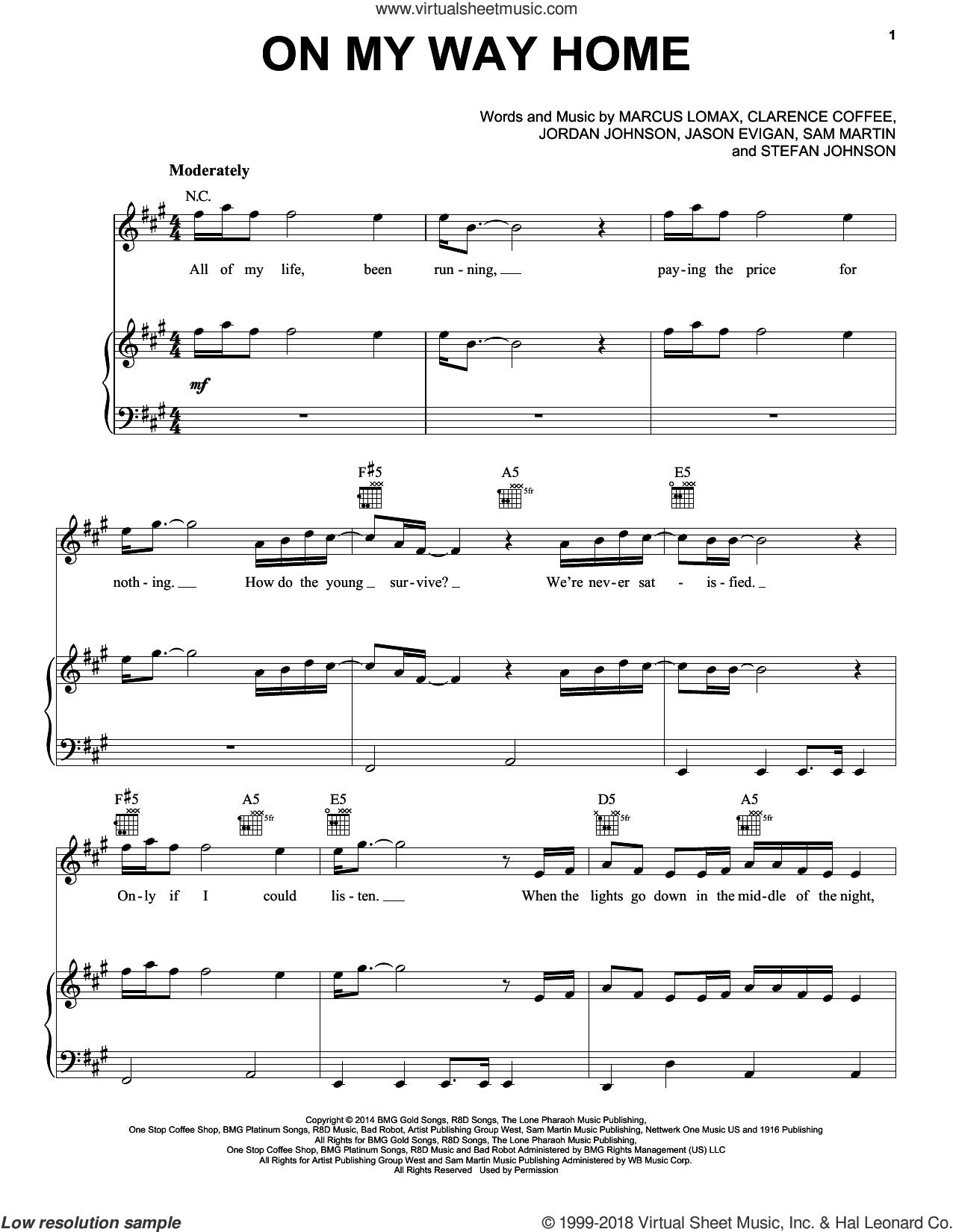 On My Way Home sheet music for voice, piano or guitar by Pentatonix, Clarence Coffee, Jason Evigan, Jordan Johnson, Marcus Lomax, Sam Martin and Stefan Johnson, intermediate skill level