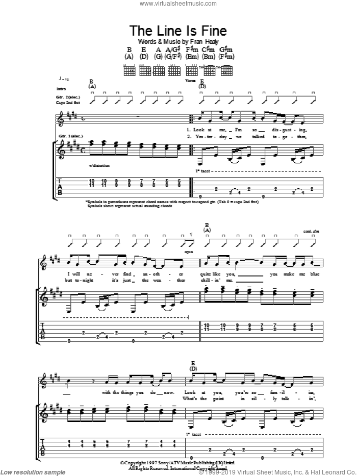 The Line Is Fine sheet music for guitar (tablature) by Fran Healy and Merle Travis. Score Image Preview.