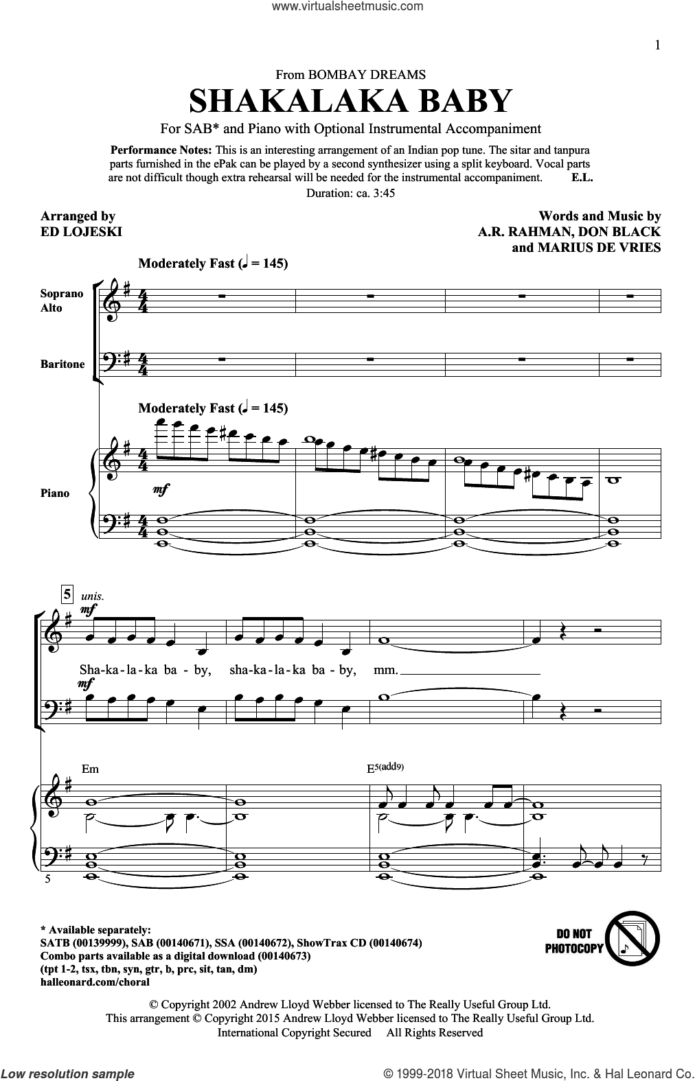 Shakalaka Baby (from Bombay Dreams) sheet music for choir (SAB: soprano, alto, bass) by Don Black, Ed Lojeski, A.R. Rahman and Marius De Vries, intermediate skill level