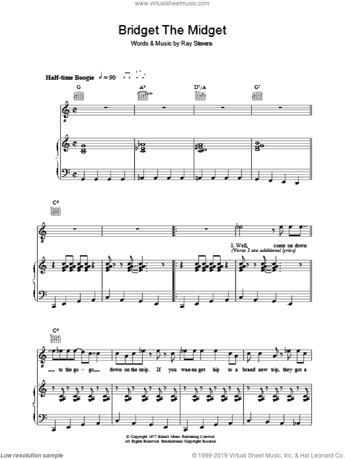 Bridget The Midget sheet music for voice, piano or guitar by Ray Stevens, intermediate skill level