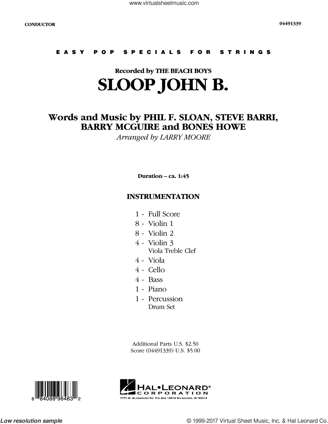 Sloop John B (COMPLETE) sheet music for orchestra by The Beach Boys, Barry McGuire, Bones Howe, Harry Belafonte, Larry Moore, Phil F. Sloan and Steve Barri, intermediate. Score Image Preview.