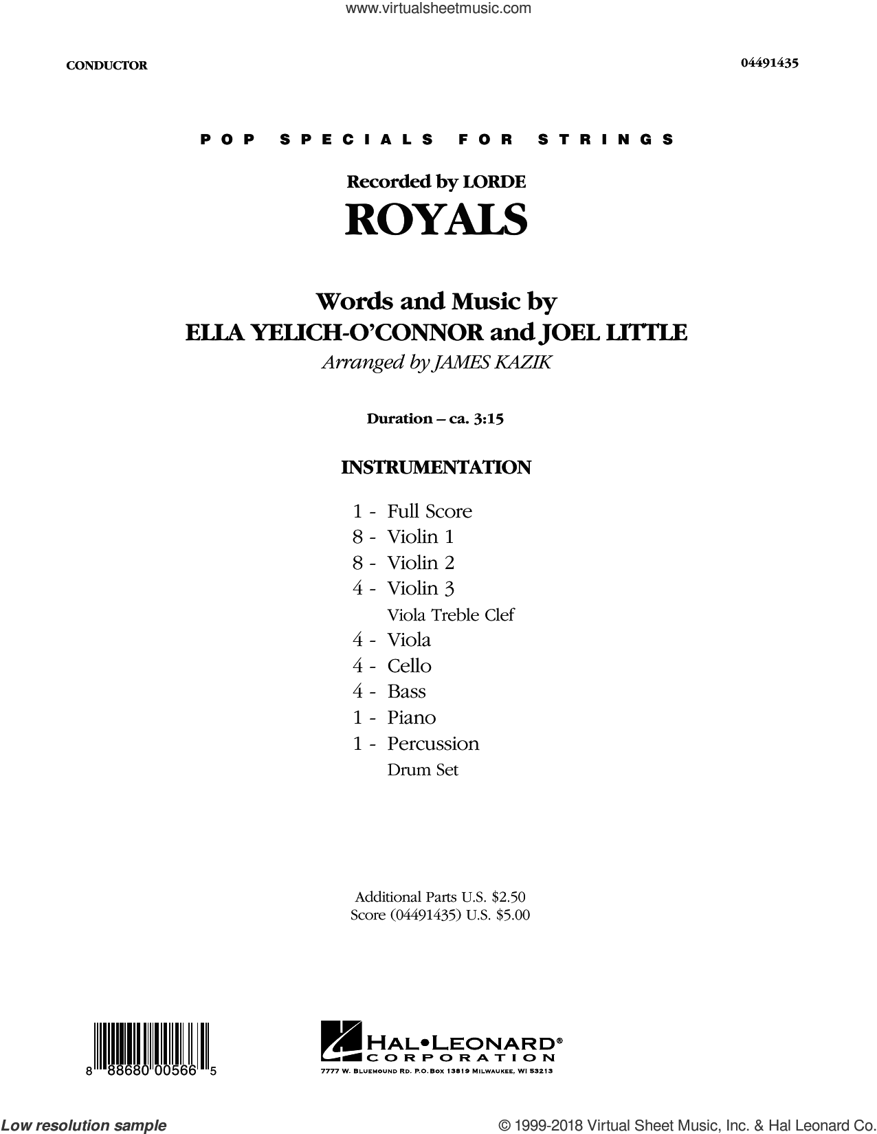 Lorde Royals Sheet Music Complete Collection For Orchestra