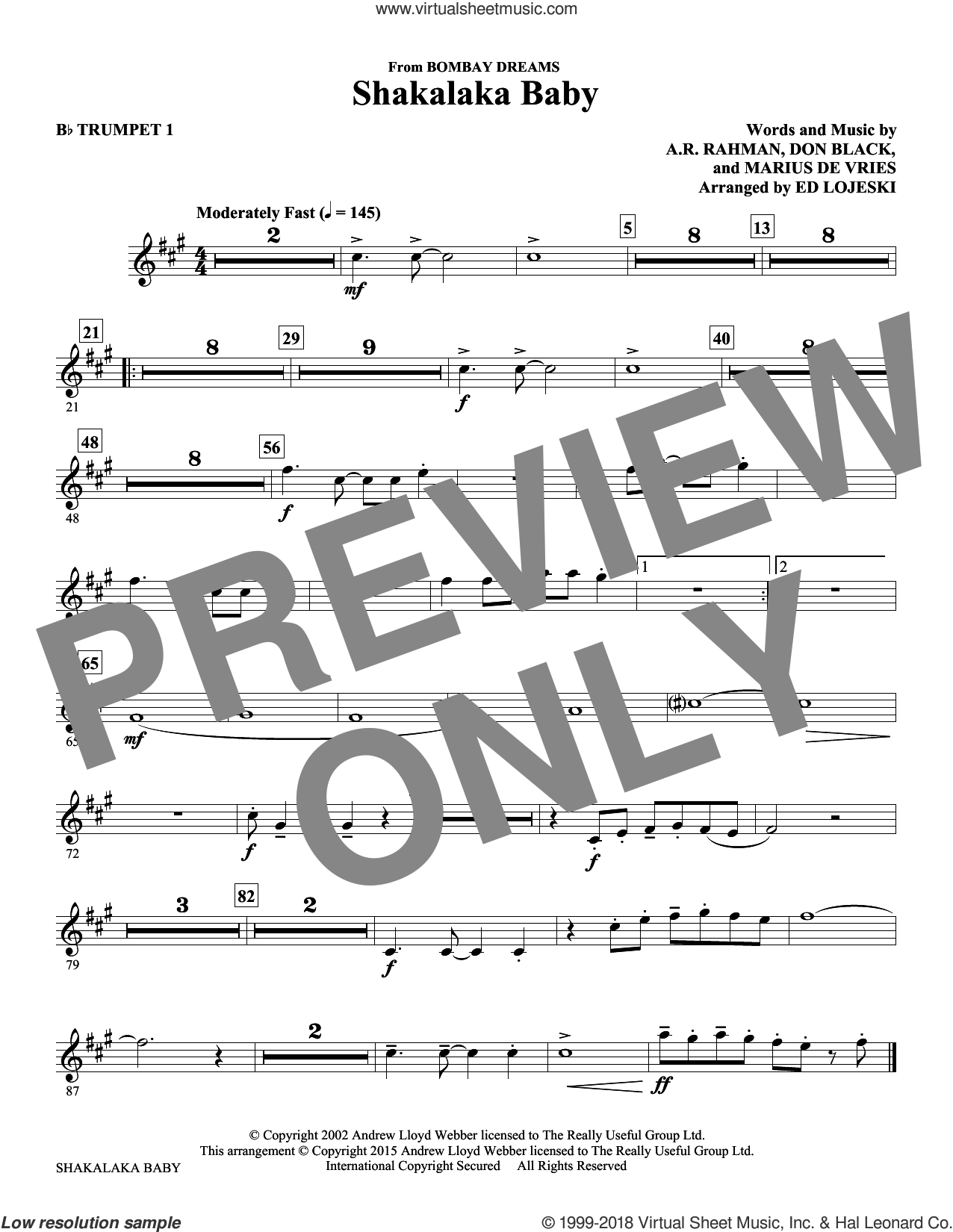 Shakalaka Baby (from Bombay Dreams) (complete set of parts) sheet music for orchestra/band by Ed Lojeski, A.R. Rahman, Don Black and Marius De Vries, intermediate skill level