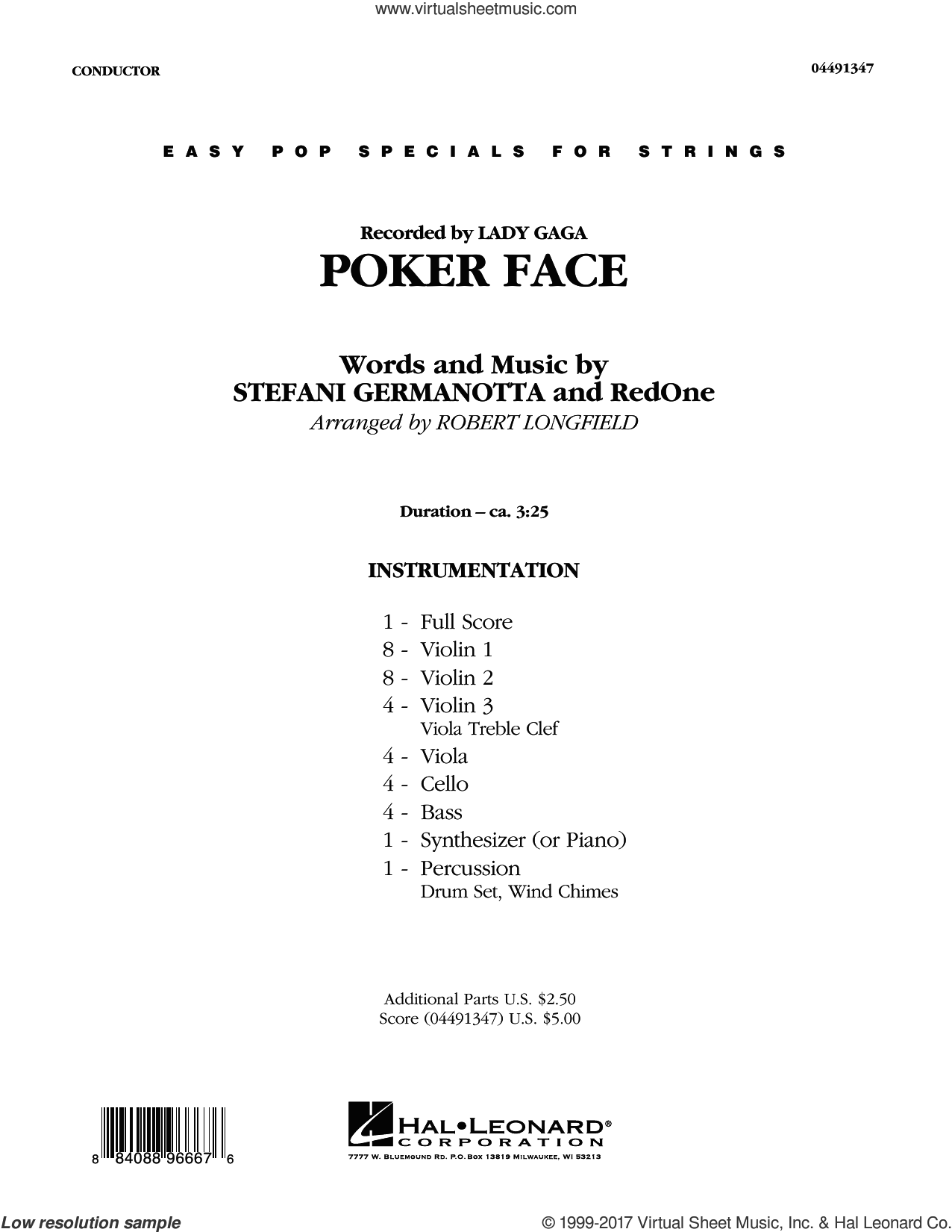 Poker Face (COMPLETE) sheet music for orchestra by Glee Cast, Lady Gaga, RedOne and Robert Longfield, intermediate skill level