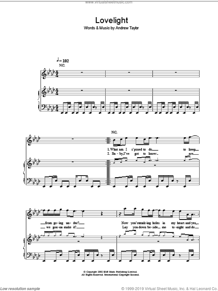 Lovelight sheet music for voice, piano or guitar by Andrew Taylor and Robbie Williams. Score Image Preview.