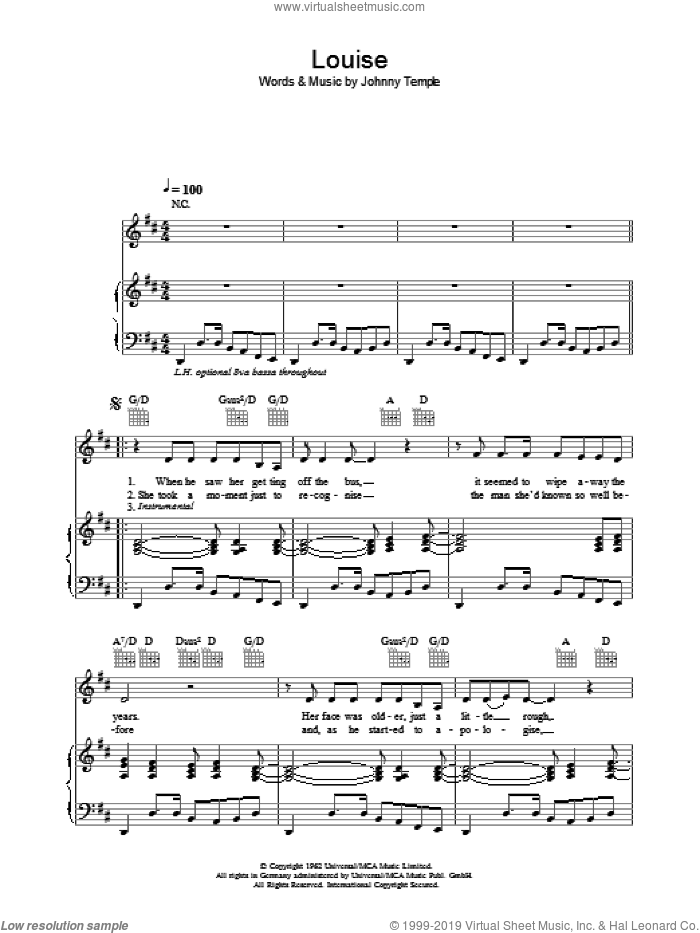 Louise sheet music for voice, piano or guitar by Johnny Temple and Robbie Williams. Score Image Preview.