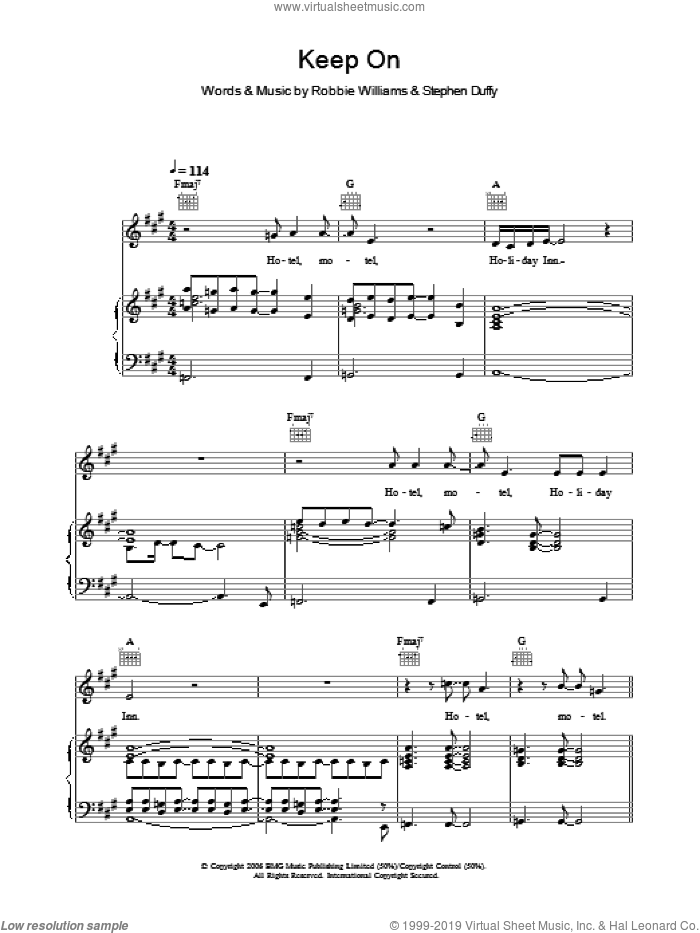 Keep On sheet music for voice, piano or guitar by Stephen Duffy and Robbie Williams. Score Image Preview.
