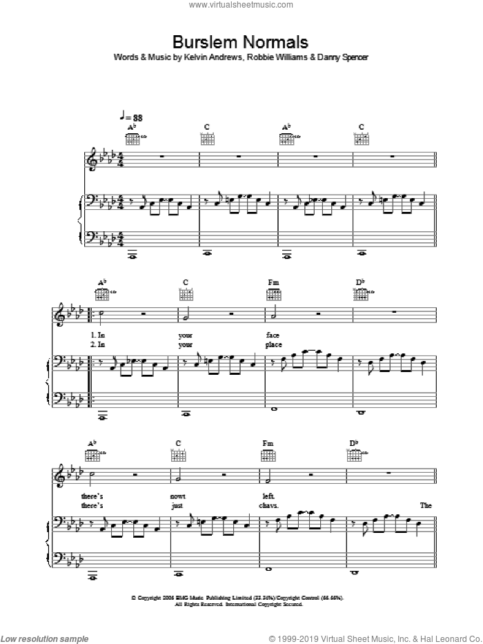 Burslem Normals sheet music for voice, piano or guitar by Kelvin Andrews