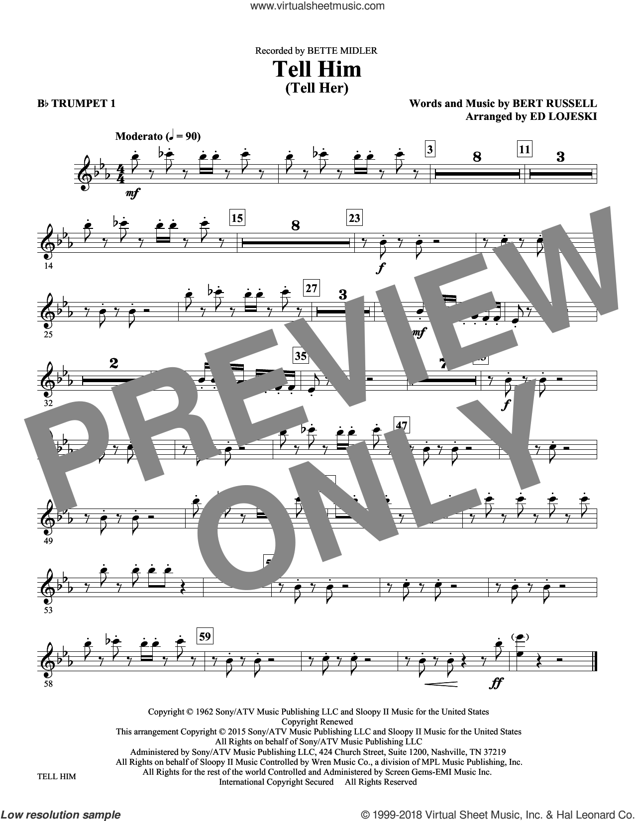 Tell Him (Tell Her) sheet music for orchestra/band (Bb trumpet 1) by Bert Russell and Ed Lojeski. Score Image Preview.