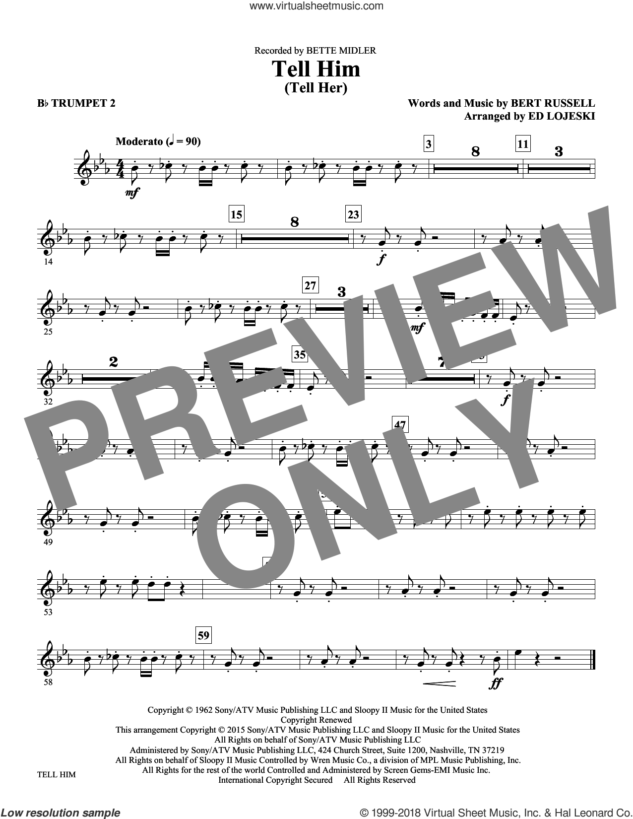 Tell Him (Tell Her) sheet music for orchestra/band (Bb trumpet 2) by Ed Lojeski and The Exciters. Score Image Preview.
