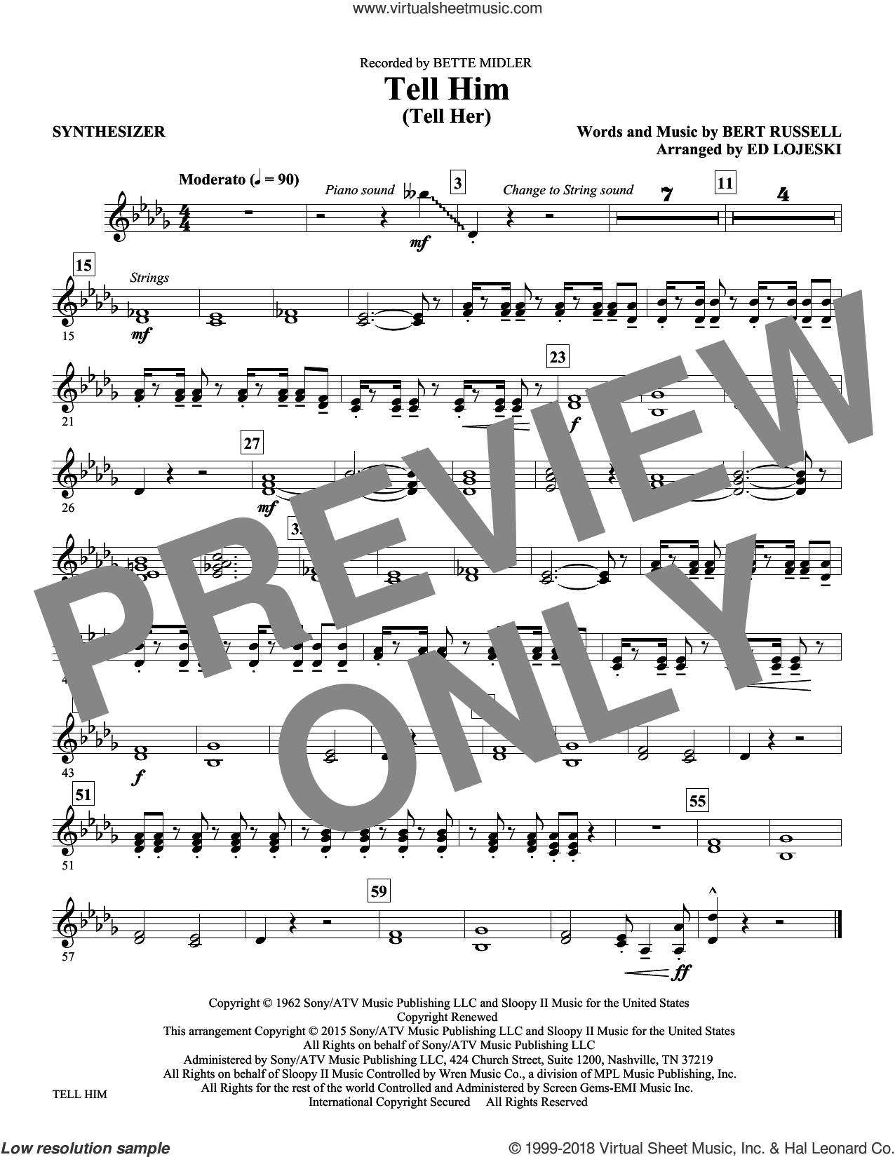 Tell Him (Tell Her) sheet music for orchestra/band (synthesizer) by Bert Russell and Ed Lojeski. Score Image Preview.