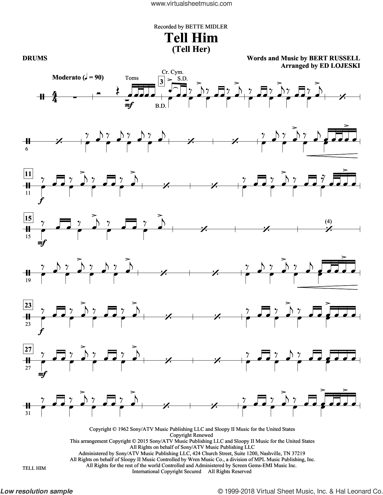 Tell Him (Tell Her) sheet music for orchestra/band (drums) by Bert Russell and Ed Lojeski. Score Image Preview.