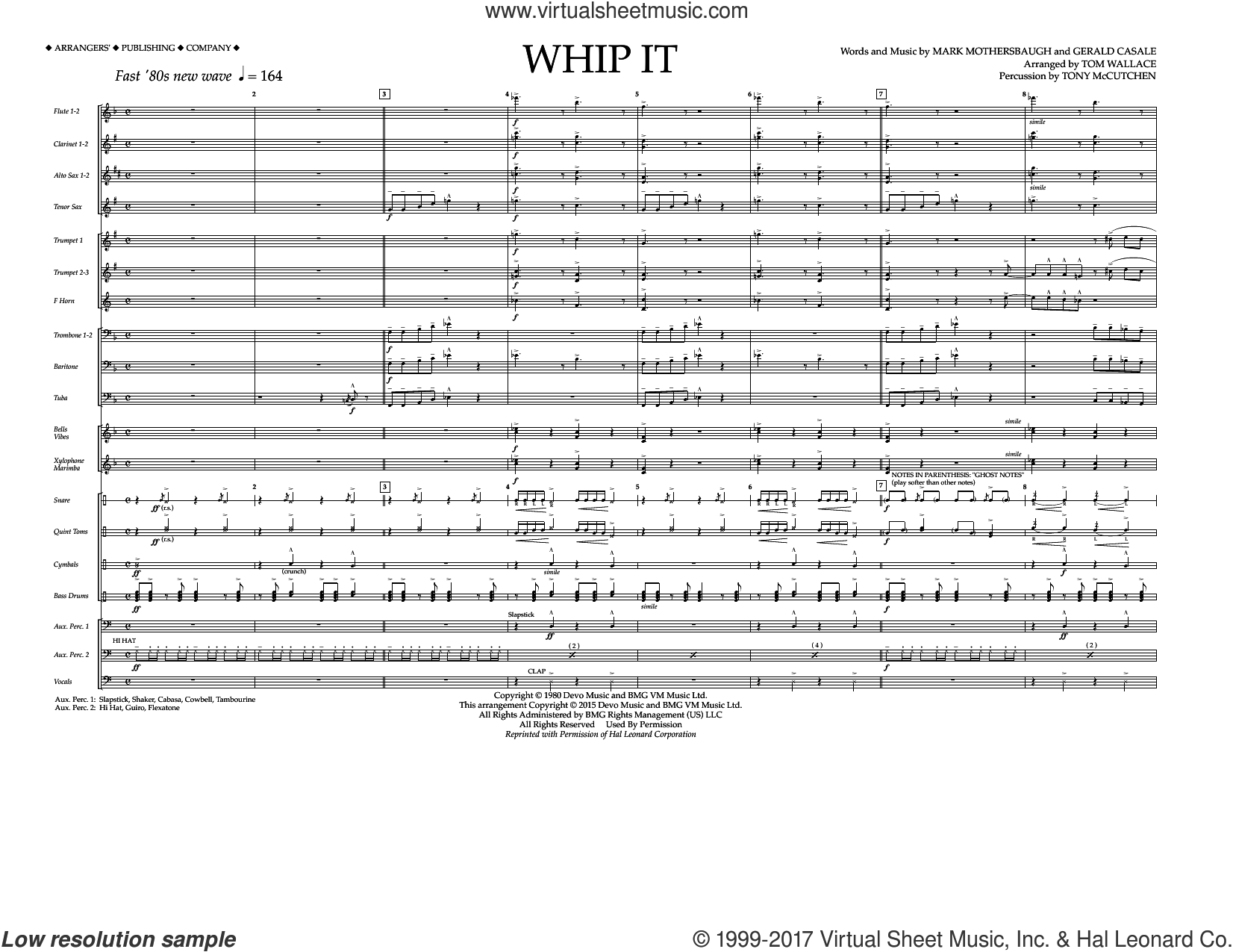 Whip It (COMPLETE) sheet music for marching band by Tom Wallace, Devo, Gerald Casale and Mark Mothersbaugh, intermediate. Score Image Preview.