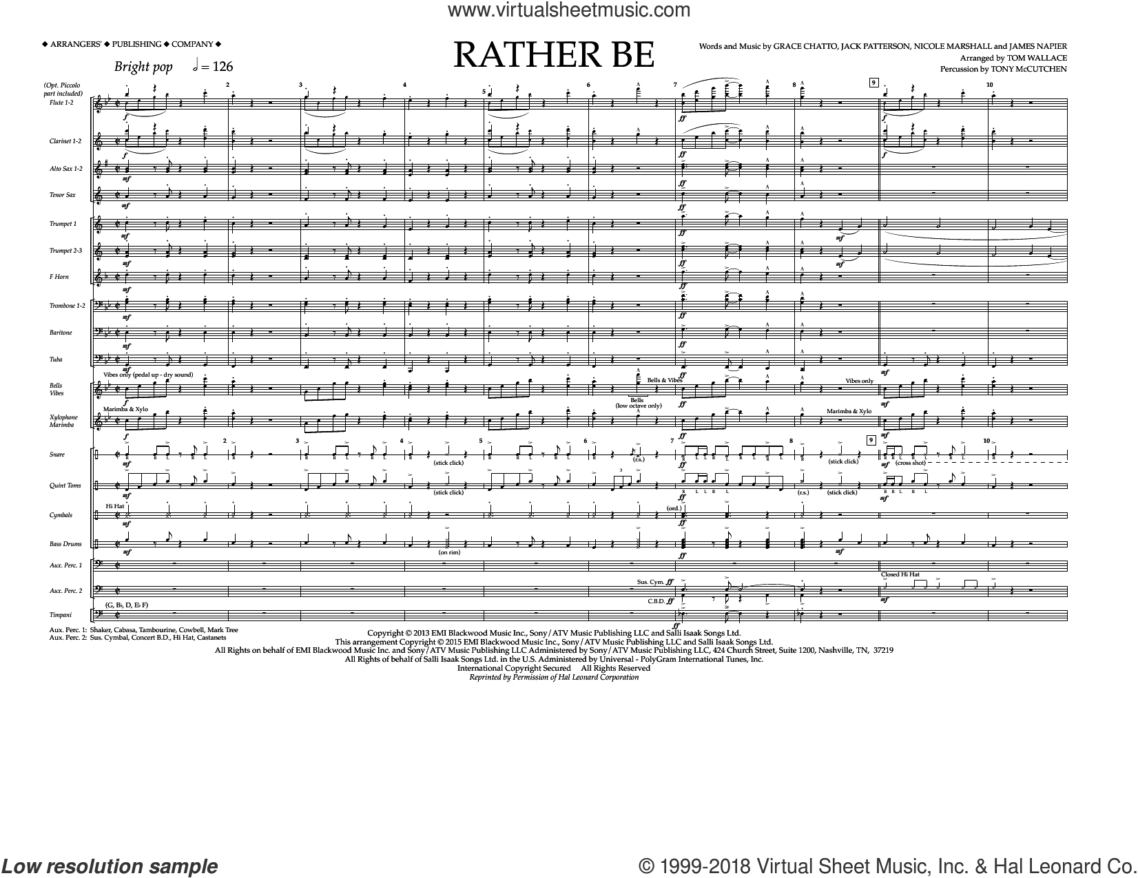 Rather Be (COMPLETE) sheet music for marching band by Tom Wallace and Clean Bandit feat. Jess Glynne, intermediate marching band. Score Image Preview.