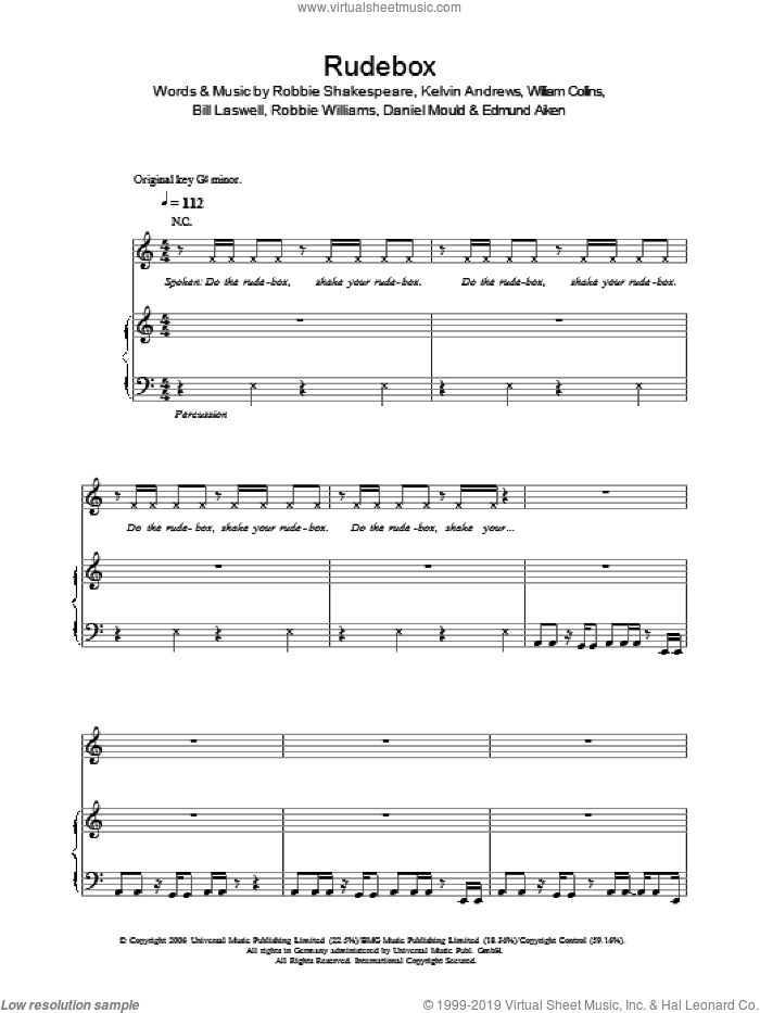 Rudebox sheet music for voice, piano or guitar by William Collins, Robbie Williams, Kelvin Andrews and Robbie Shakespeare. Score Image Preview.