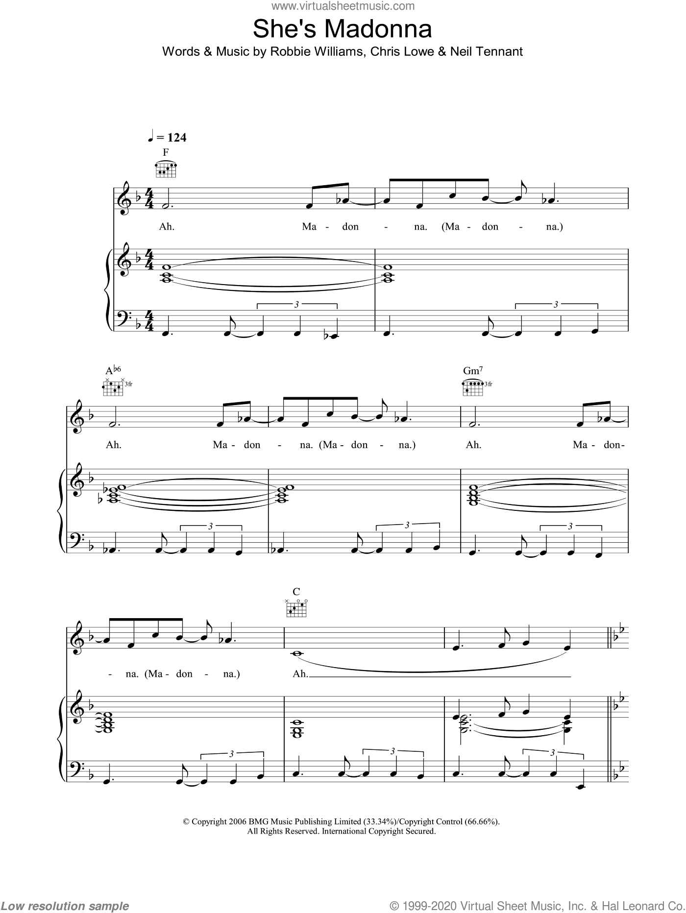 She's Madonna sheet music for voice, piano or guitar by Neil Tennant and Robbie Williams. Score Image Preview.