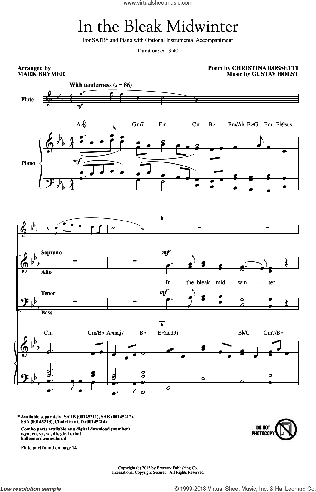 In The Bleak Midwinter sheet music for choir and piano (SATB) by Mark Brymer, Christina Rosetti and Gustav Holst. Score Image Preview.