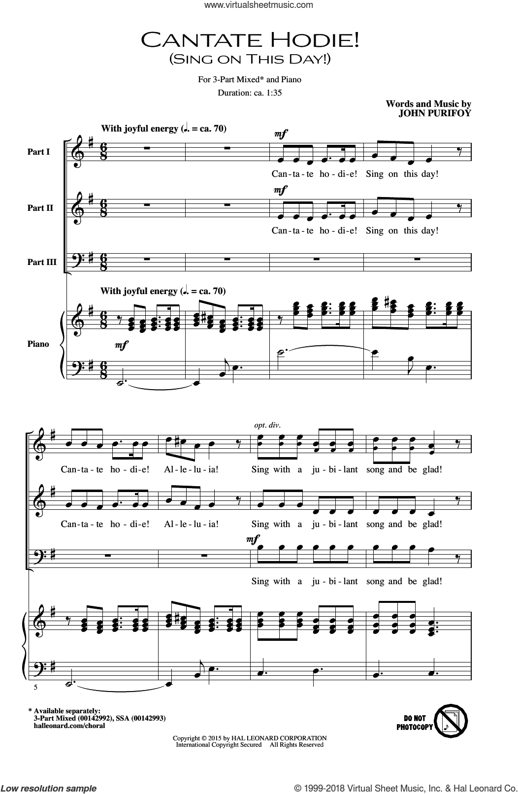 Cantate Hodie! (Sing On This Day) sheet music for choir (chamber ensemble) by John Purifoy, intermediate choir (chamber ensemble). Score Image Preview.