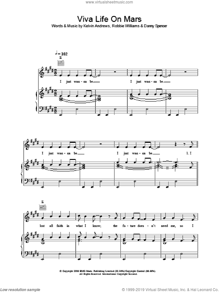 Viva Life On Mars sheet music for voice, piano or guitar by Robbie Williams. Score Image Preview.