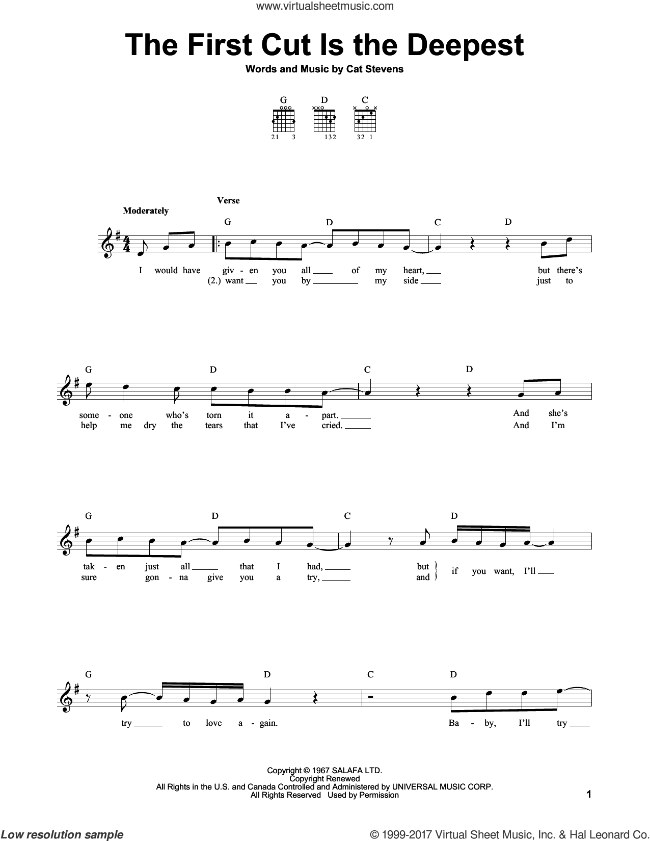 The First Cut Is The Deepest sheet music for guitar solo (chords) by Cat Stevens, Rod Stewart and Sheryl Crow, easy guitar (chords)
