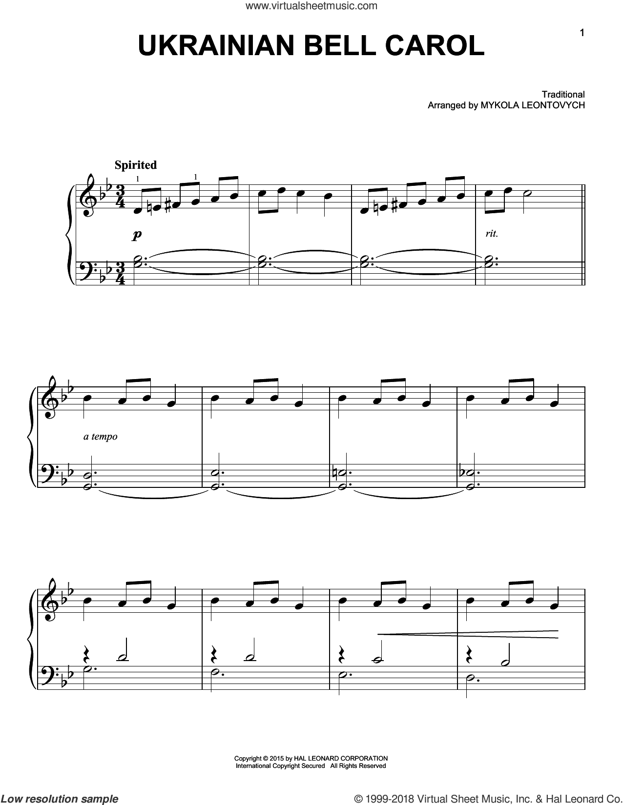 Ukrainian Bell Carol sheet music for piano solo by Mykola Leontovych, beginner
