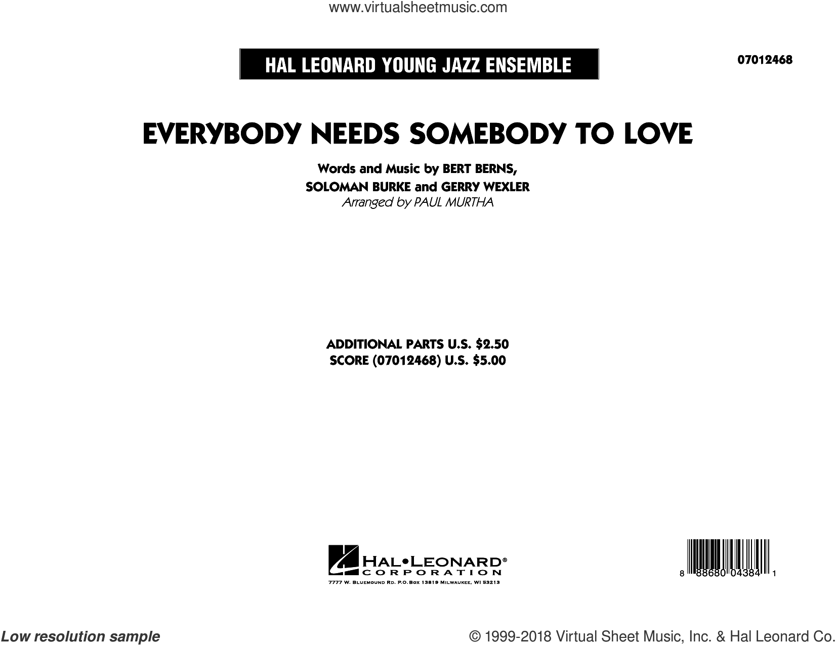 Everybody Needs Somebody to Love (COMPLETE) sheet music for jazz band by Paul Murtha, The Blues Brothers, Wilson Pickett, Bert Berns, Gerry Wexler and Soloman Burke, intermediate skill level