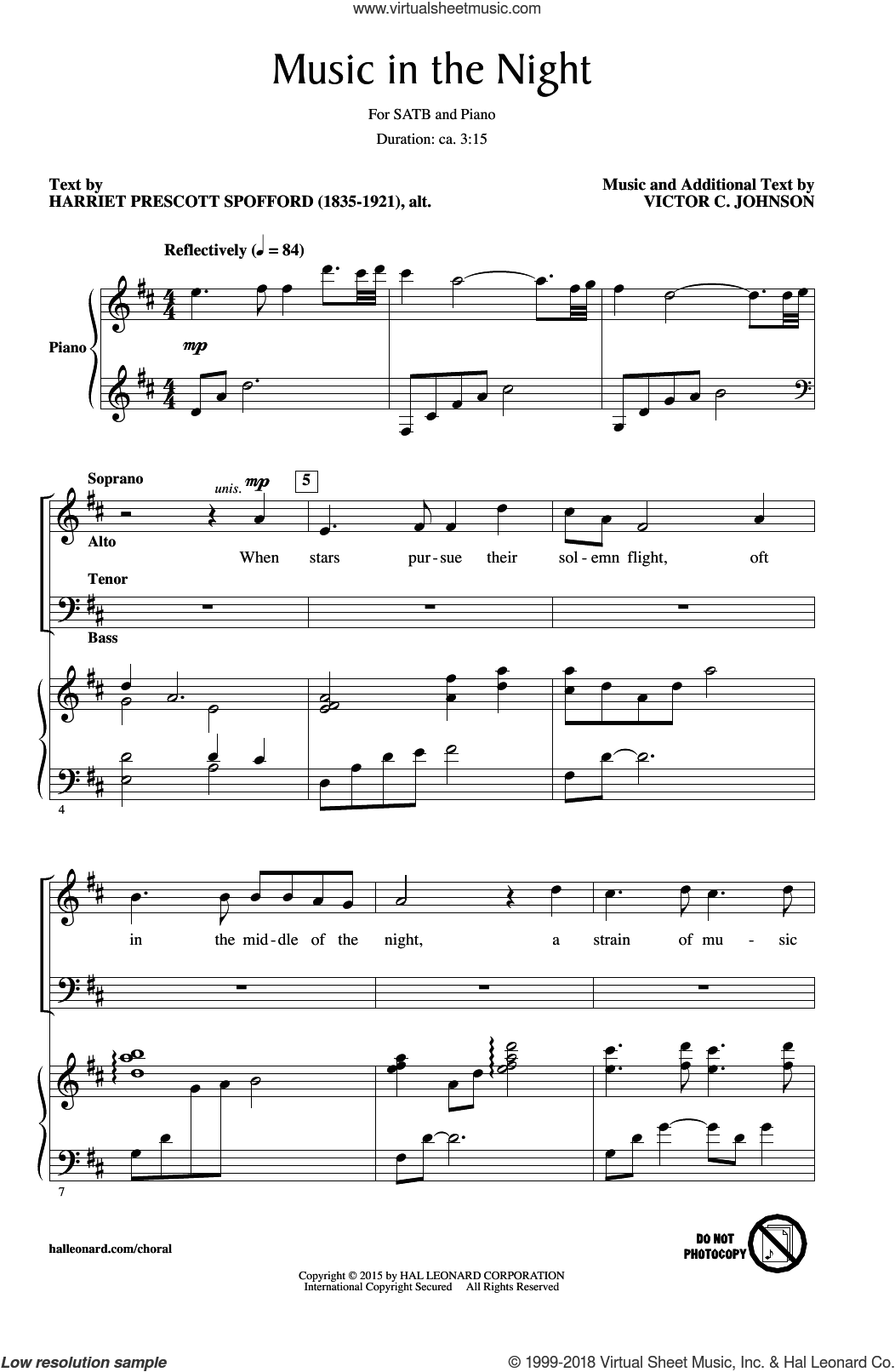 Music In The Night sheet music for choir and piano (SATB) by Victor Johnson. Score Image Preview.