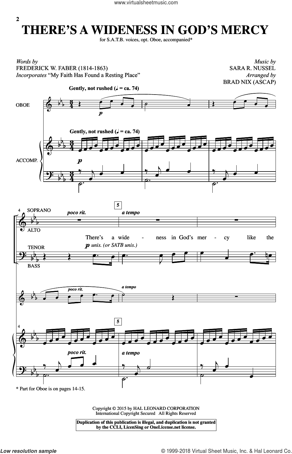 There's A Wideness In God's Mercy sheet music for choir by Brad Nix, Frederick W. Faber and Sara R. Nussel, intermediate skill level
