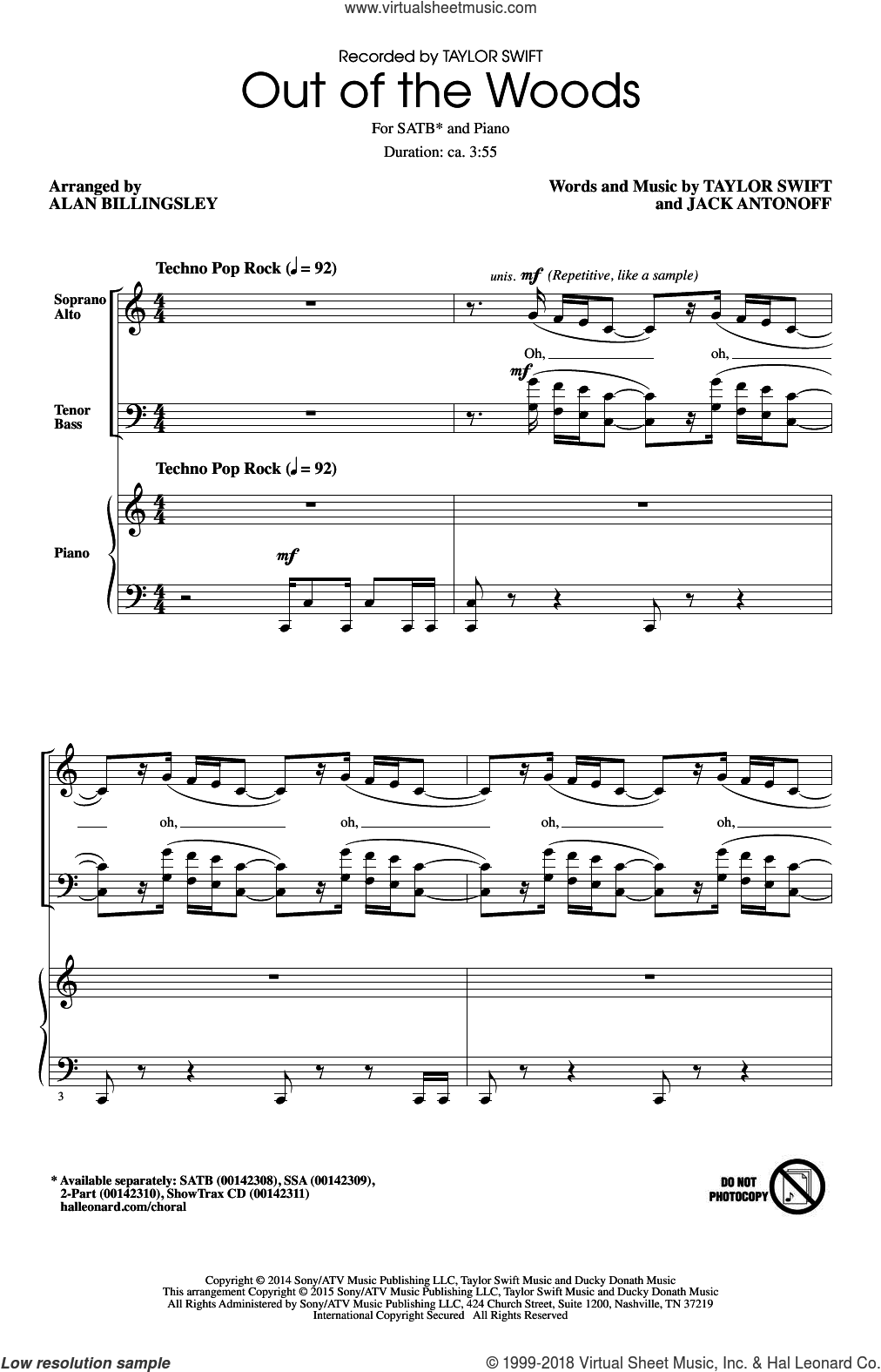 Out Of The Woods sheet music for choir (SATB) by Alan Billingsley, Jack Antonoff and Taylor Swift. Score Image Preview.