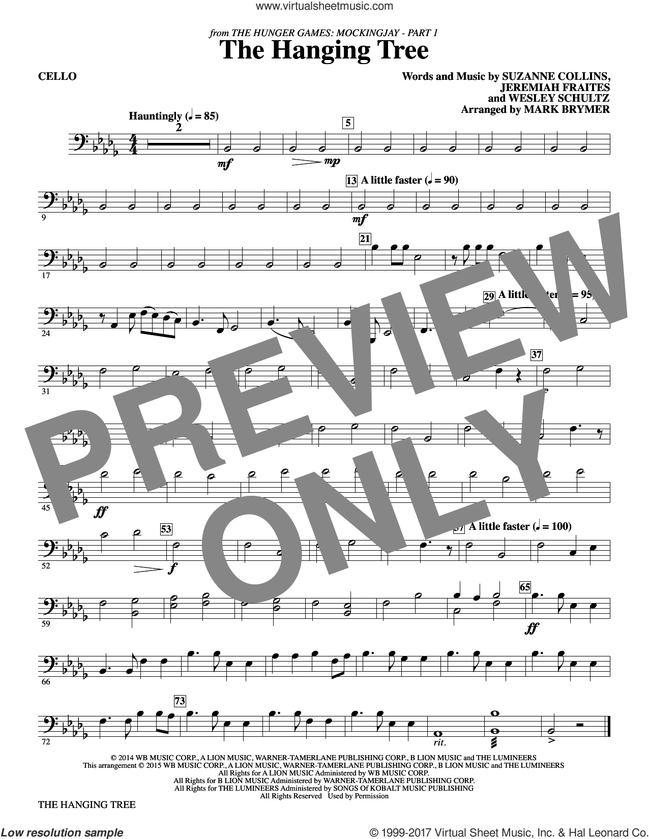 The Hanging Tree (from The Hunger Games: Mockingjay Part I) (complete set of parts) sheet music for orchestra/band by Mark Brymer, James Newton Howard, Jeremiah Fraites, Suzanne Collins and Wesley Schultz, intermediate skill level